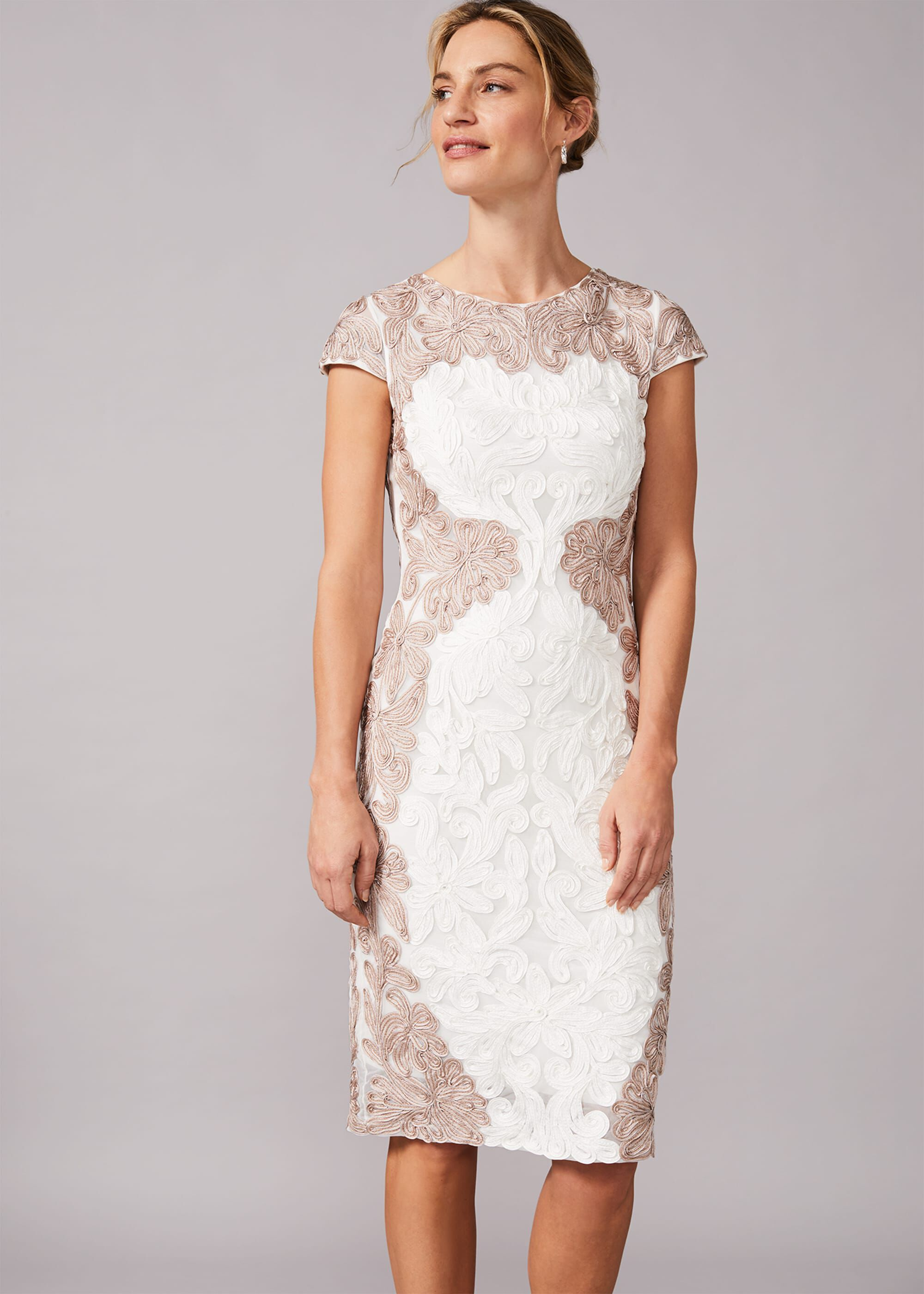 Phase Eight Nori Tapework Lace Fitted Dress, Cream, Fitted