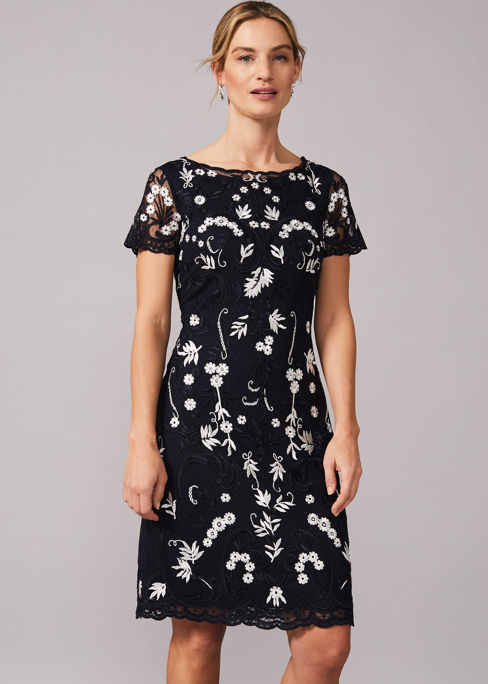 Phase Eight Floris Embroidered Shift Dress, Blue, Shift, Occasion Dress