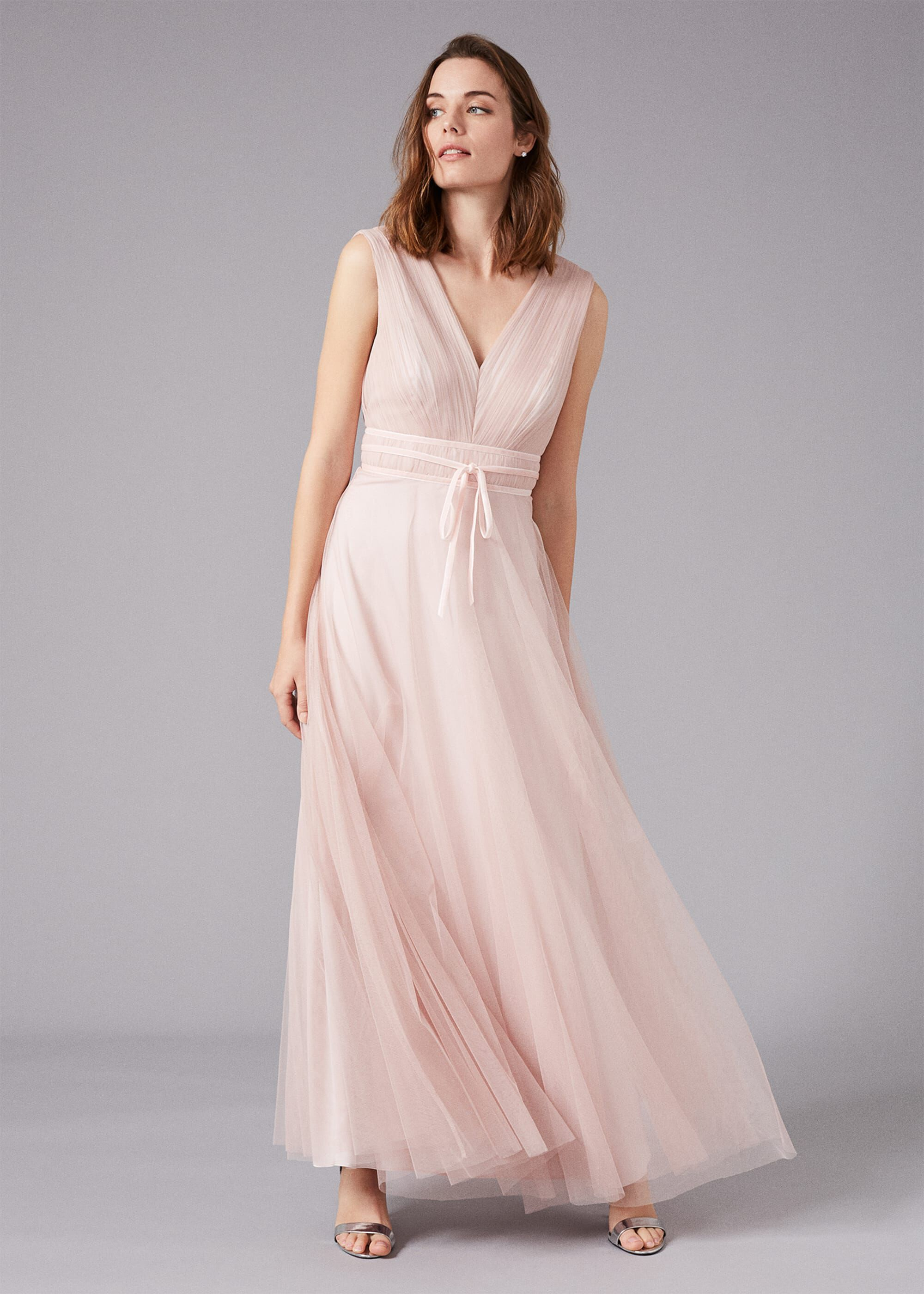 Phase Eight Bronwyn Tulle Maxi Dress, Pink, Maxi