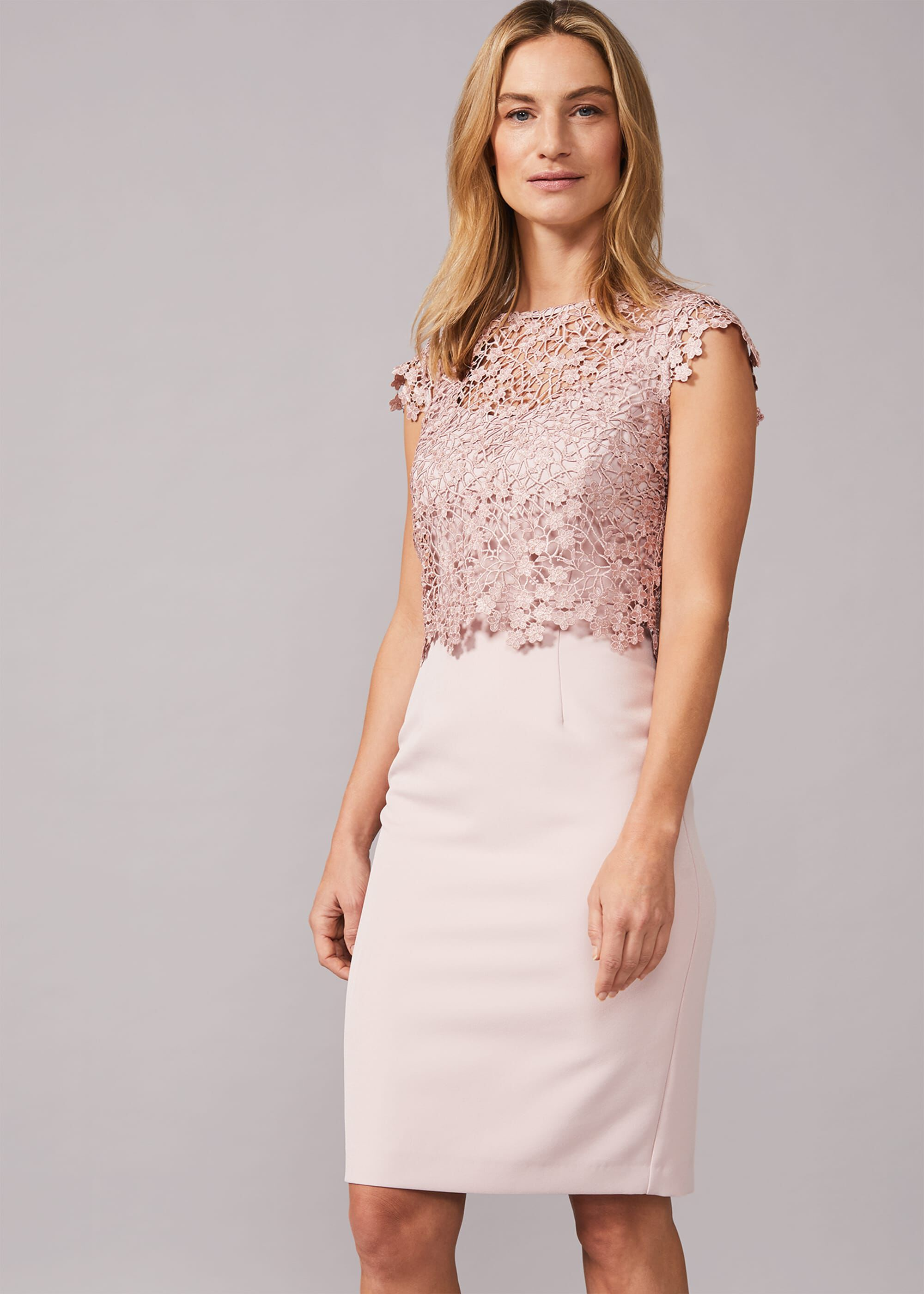 Phase Eight Mariposa Floral Lace Bodice Dress, Pink, Fitted, Occasion Dress