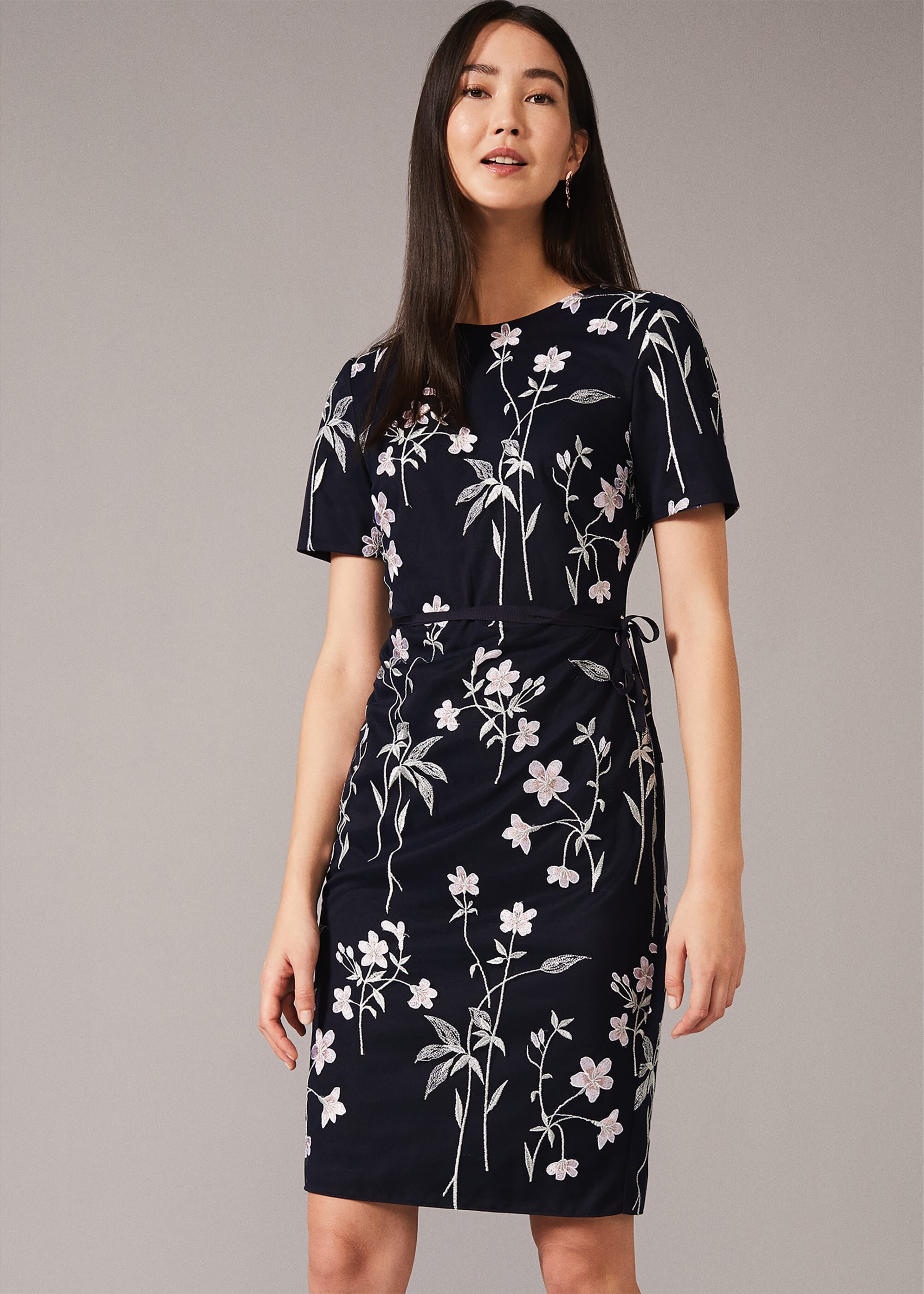 Phase Eight Kirsty Floral Fitted Dress, Blue, Fitted, Occasion Dress