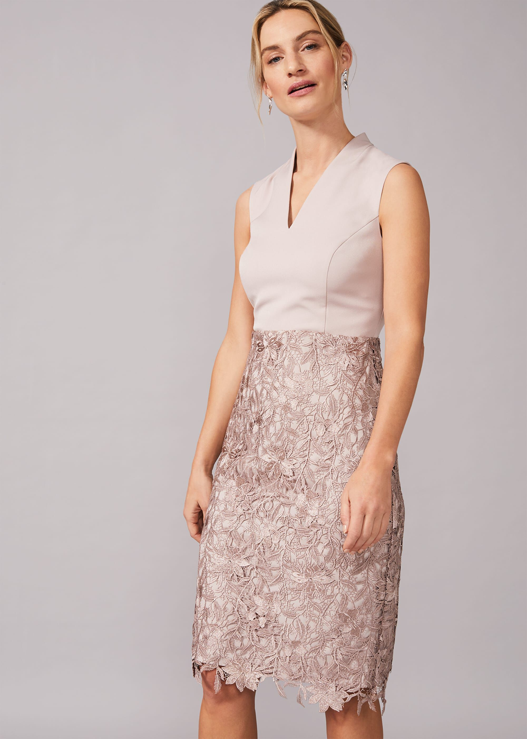 Phase Eight Aletta Lace Fitted Dress, Neutral, Fitted