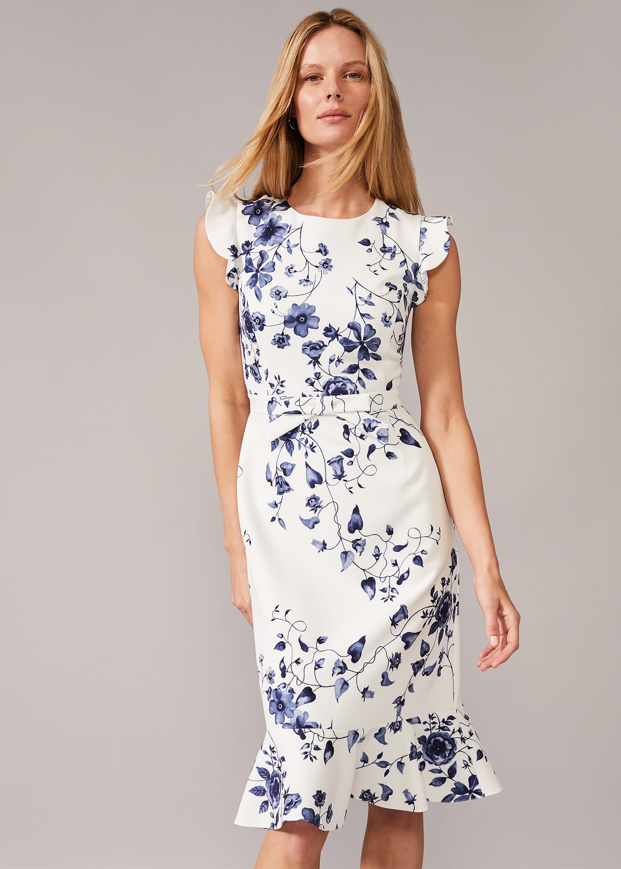 Phase Eight Tori Floral Fitted Dress, Cream, Fitted