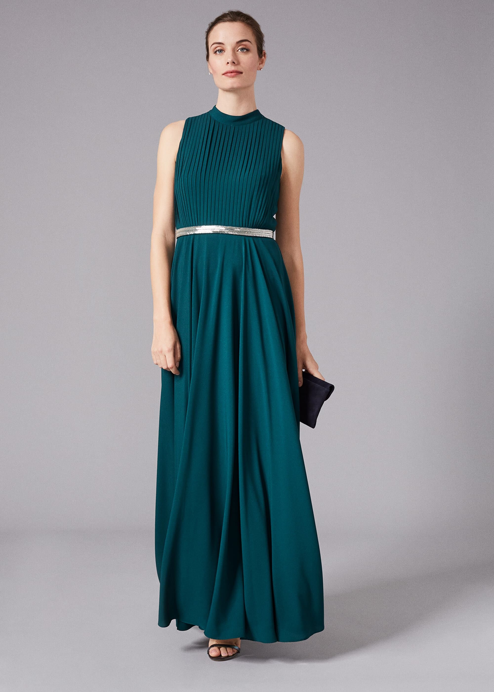 Phase Eight Nicola Embroidered Maxi Dress, Green, Maxi, Occasion Dress