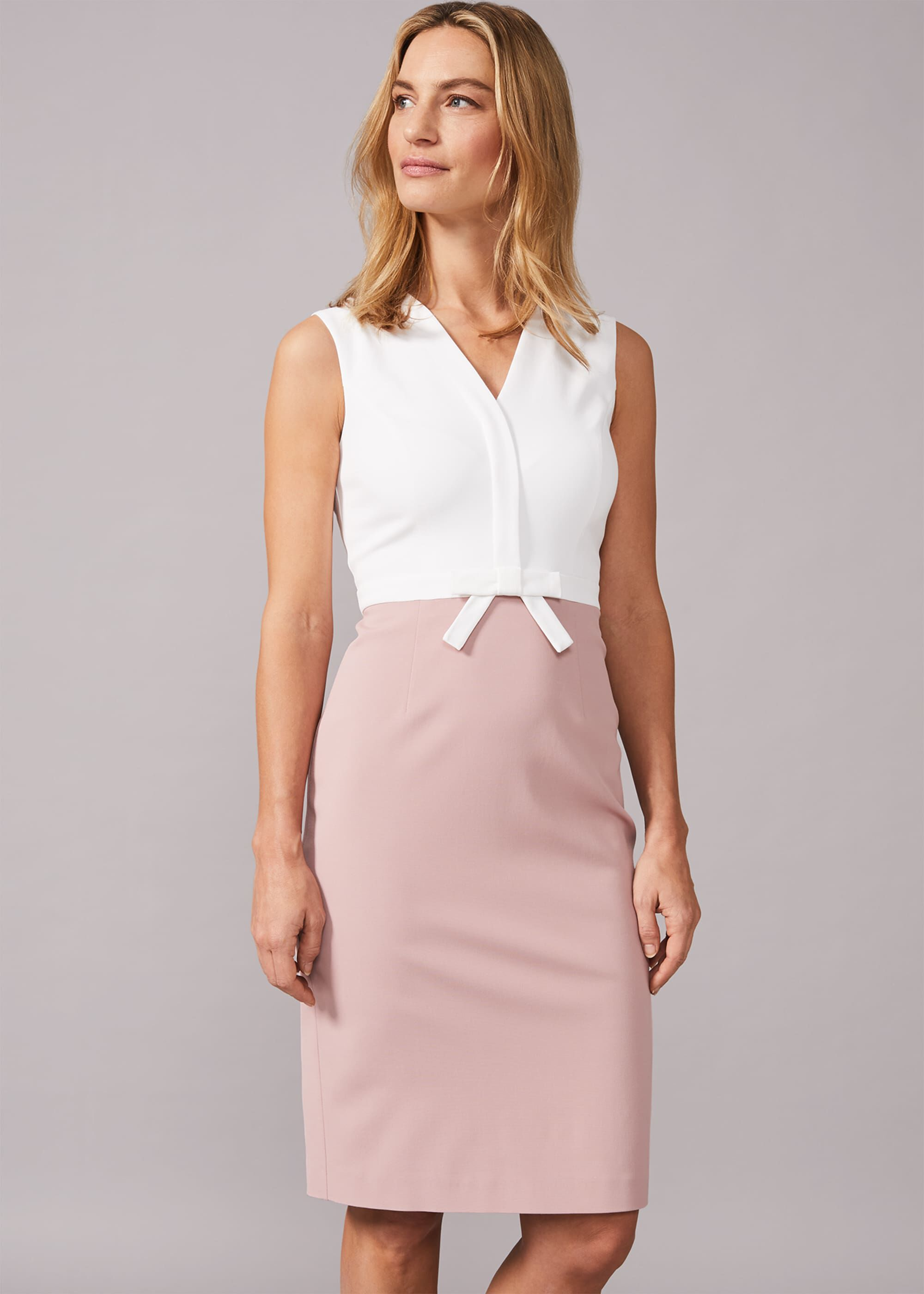 Phase Eight Loanne Bow Detail Dress, Pink, Fitted