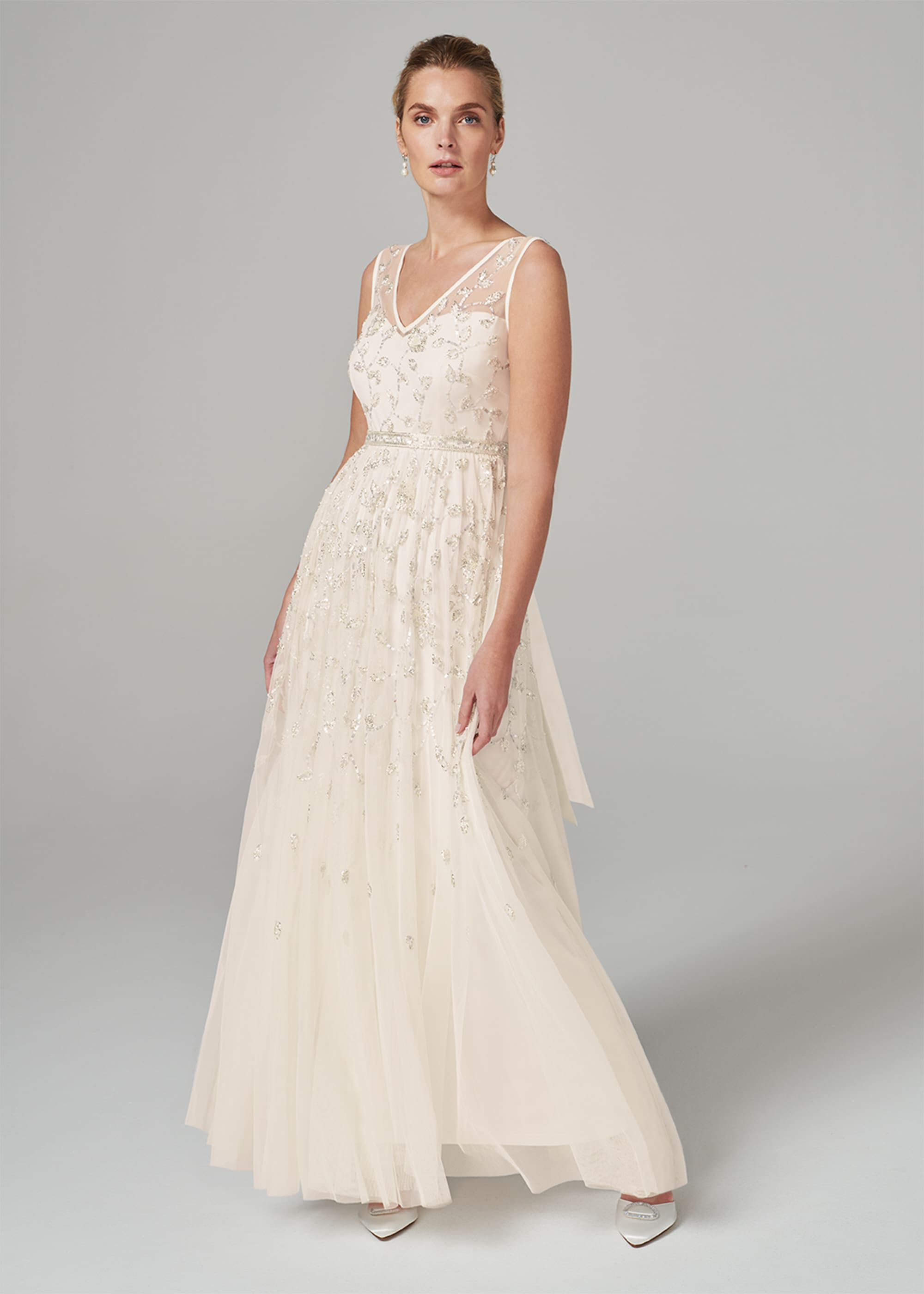 Phase Eight Millicent Beaded Wedding Dress, Cream, Maxi