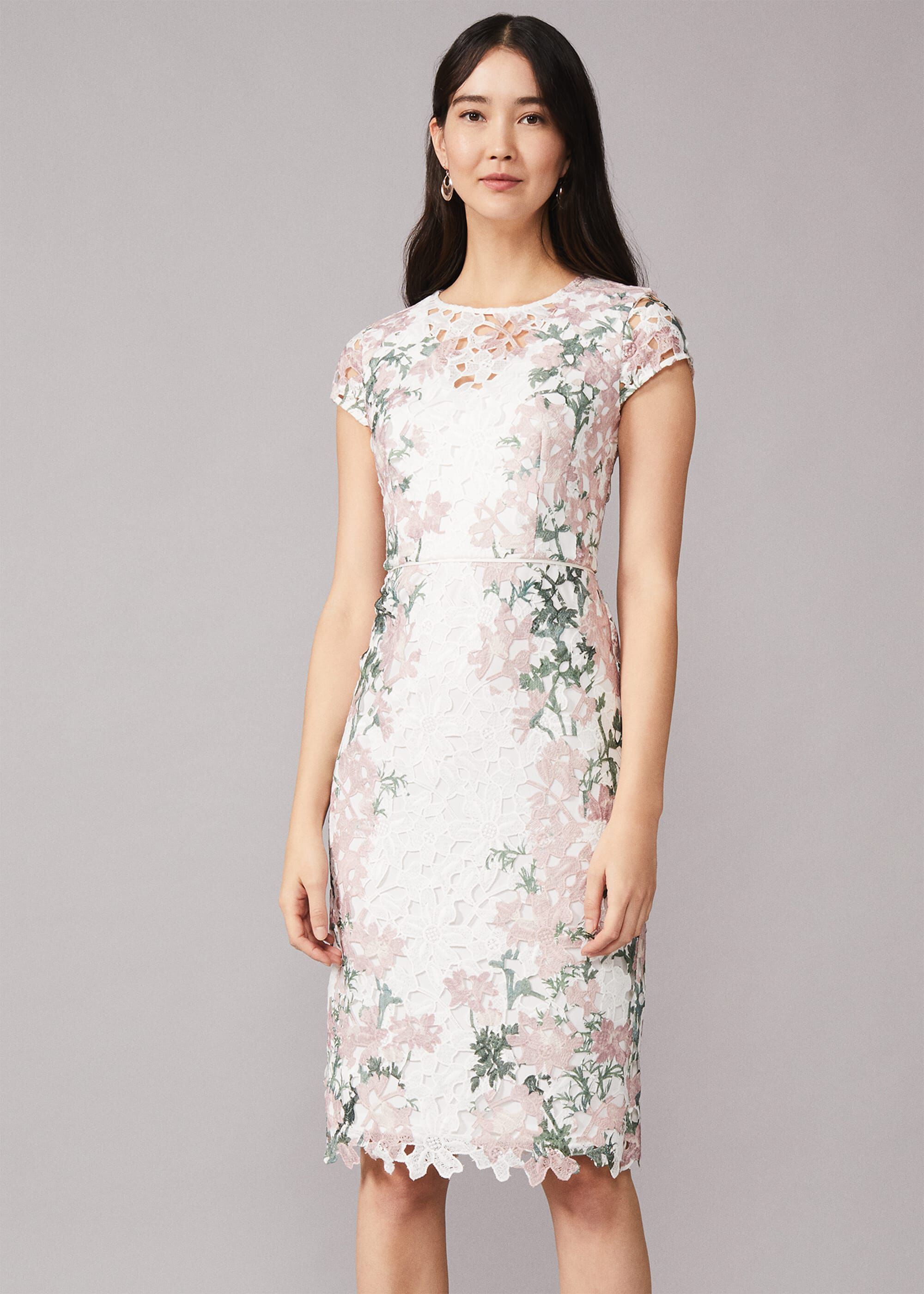 Phase Eight Kyra Lace Dress, Pink, Fitted, Occasion Dress