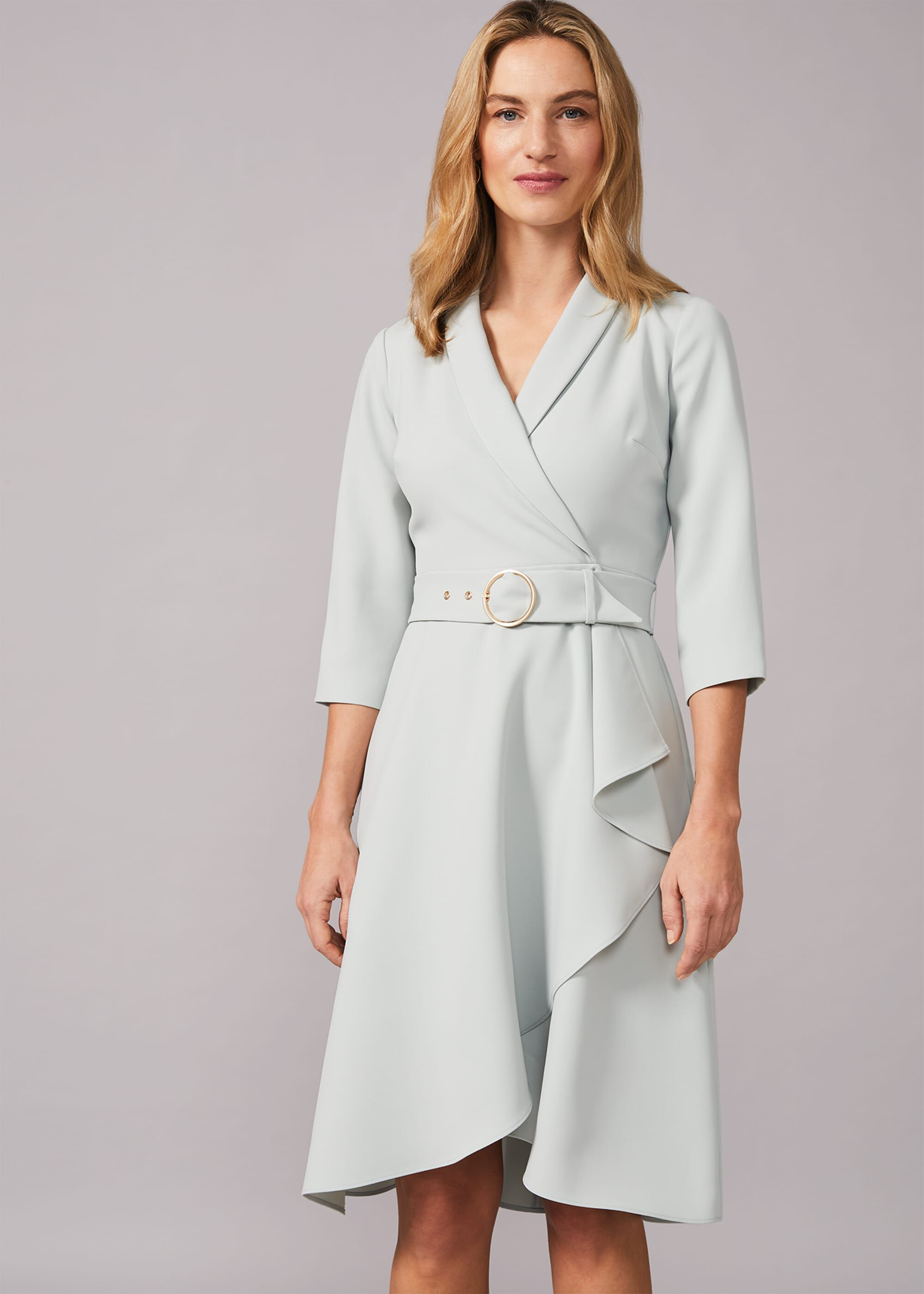 Phase Eight Jaiden Belted Flared Dress, Green, Fit & Flare, Occasion Dress