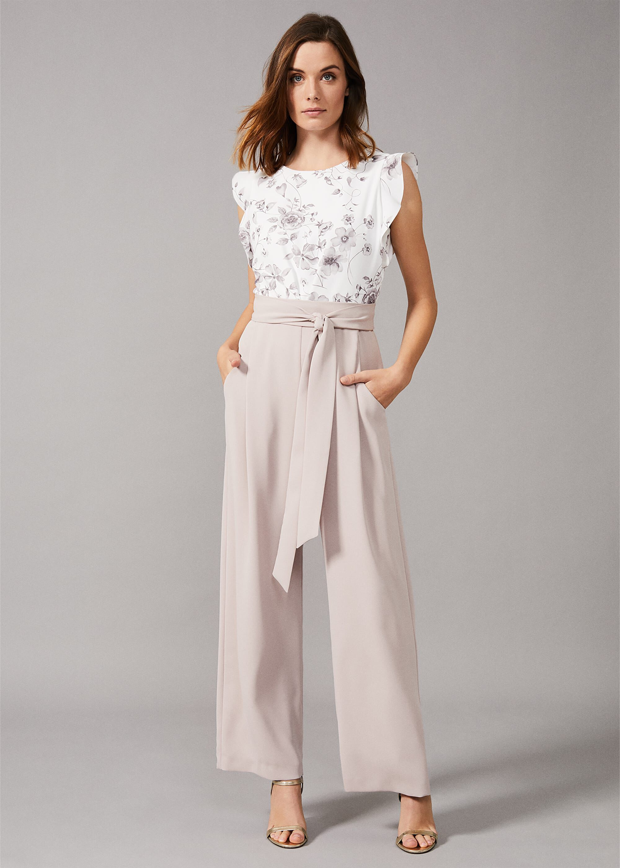 Phase Eight Victoriana Printed Jumpsuit, Cream, Jumpsuit