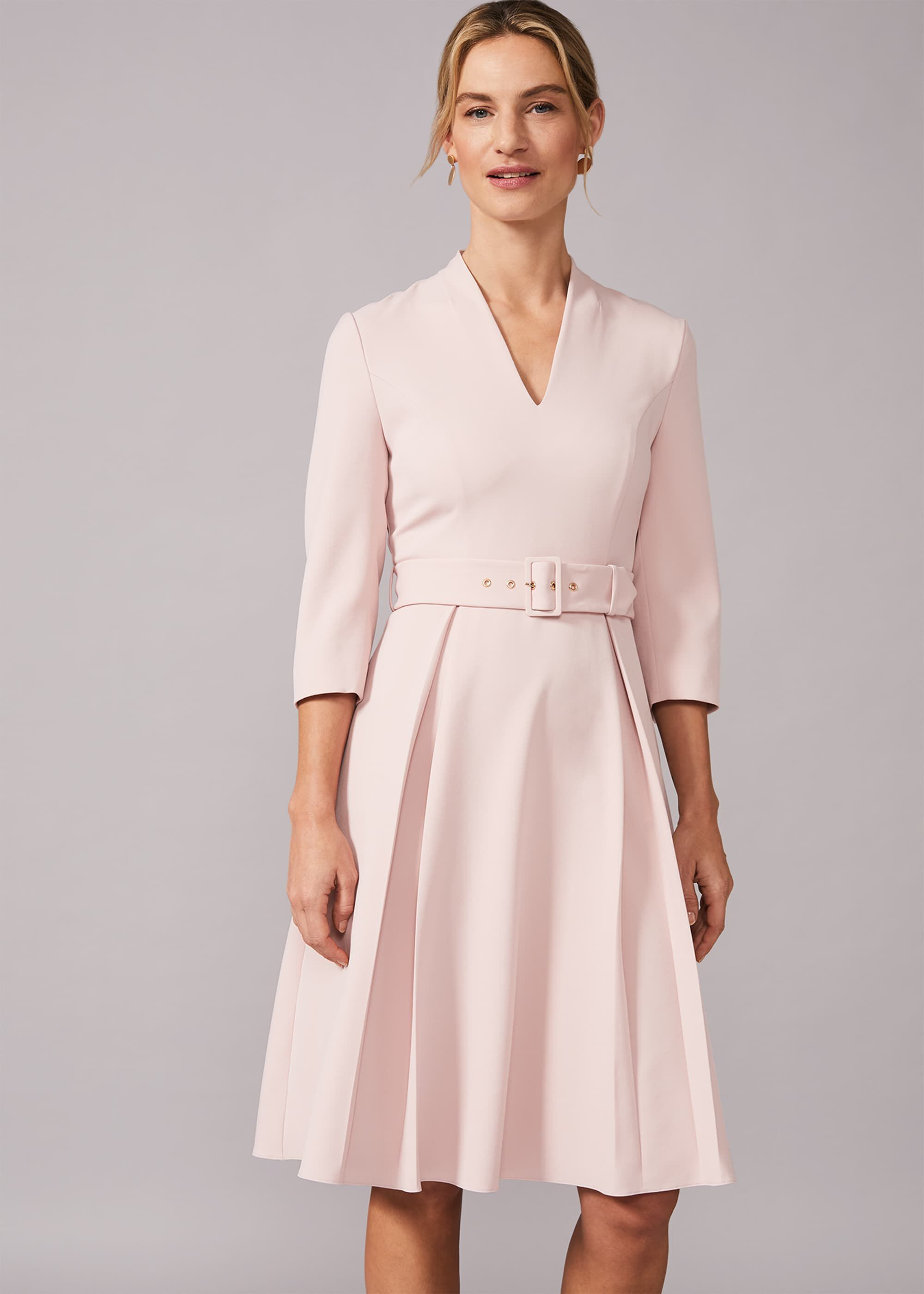 Phase Eight Margot Belted Dress, Pink, Fit & Flare, Occasion Dress