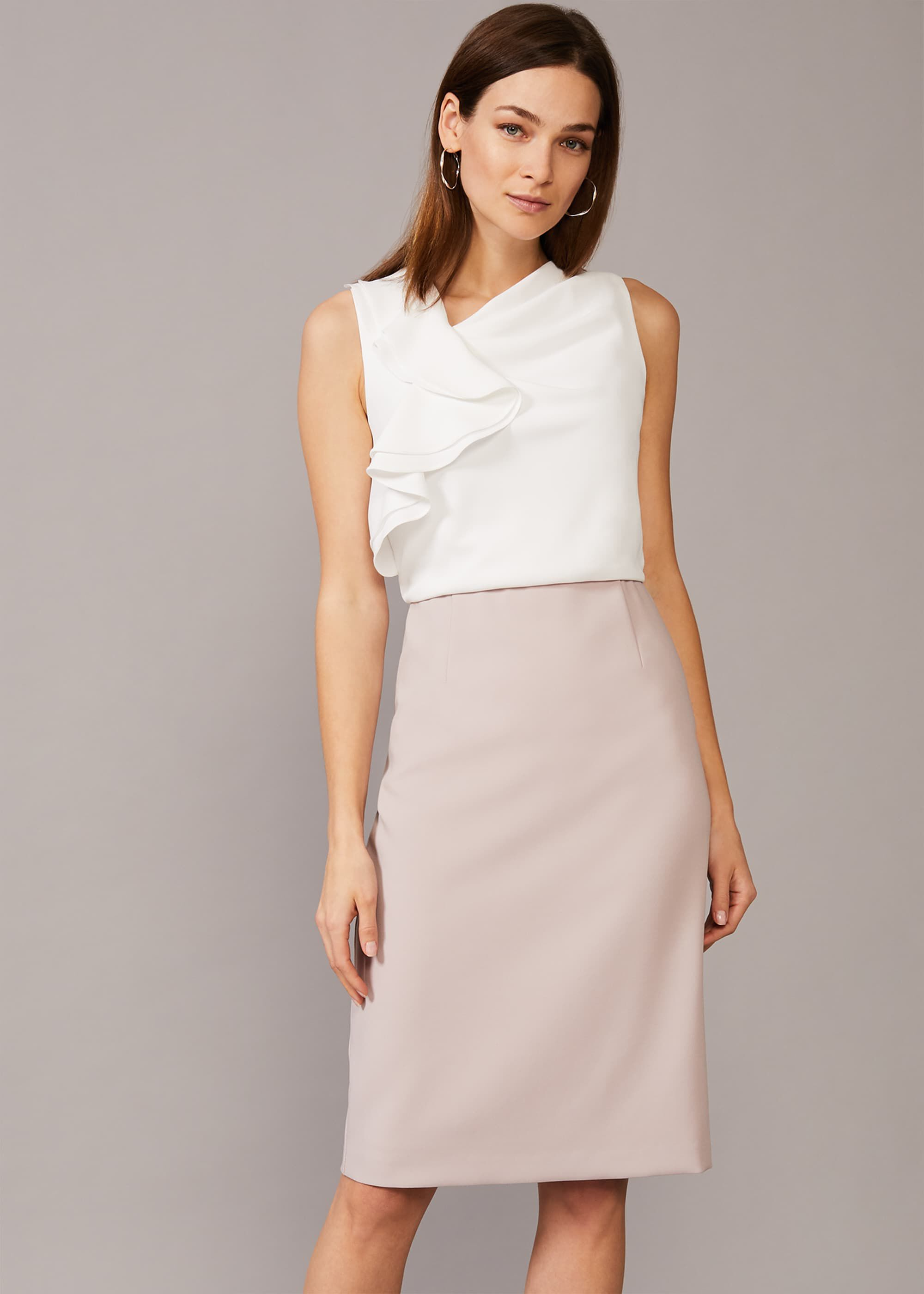 Phase Eight Maeve Frill Fitted Dress, Cream, Fitted, Occasion Dress