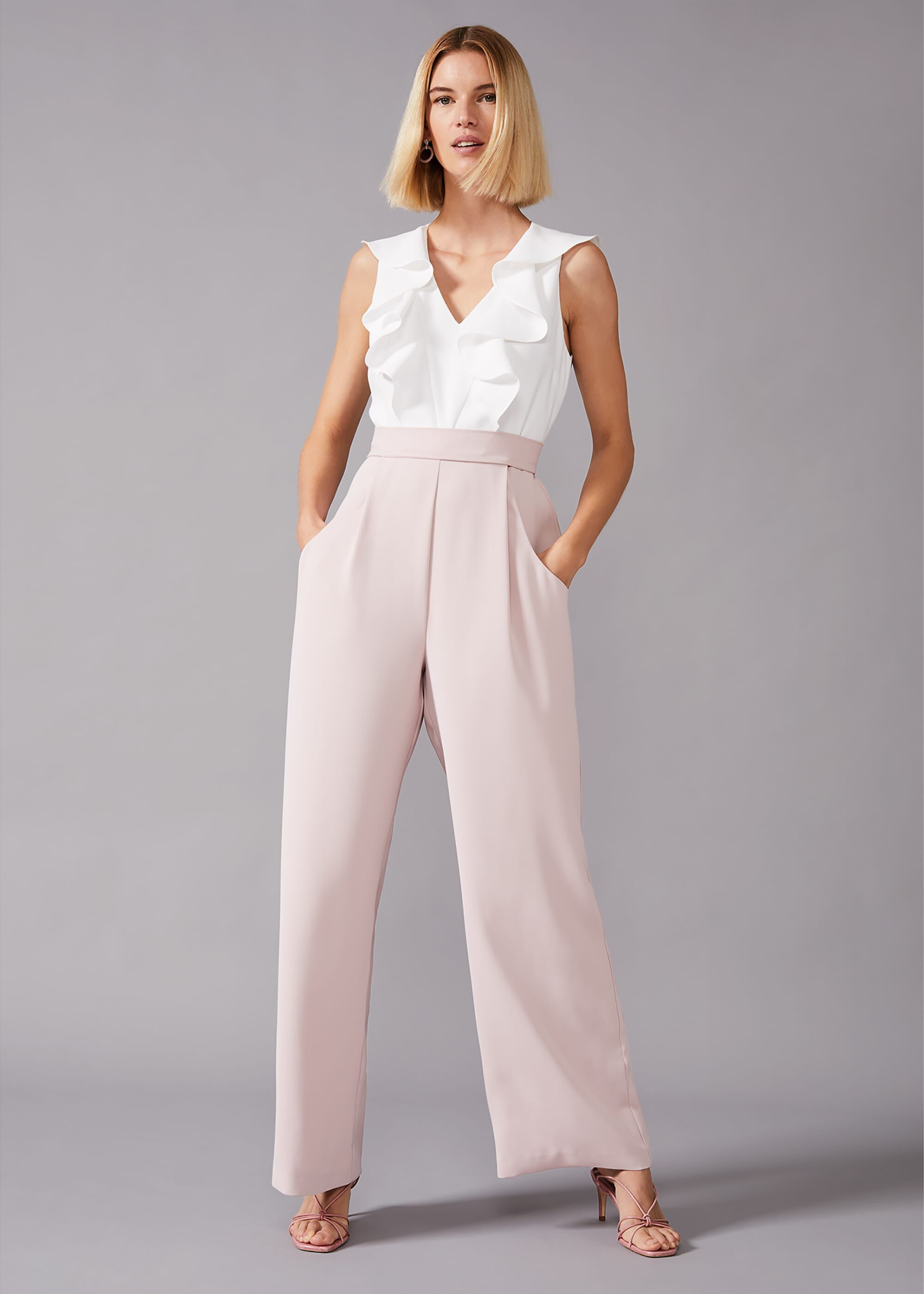 Phase Eight Linda Frill Jumpsuit, Pink, Jumpsuit