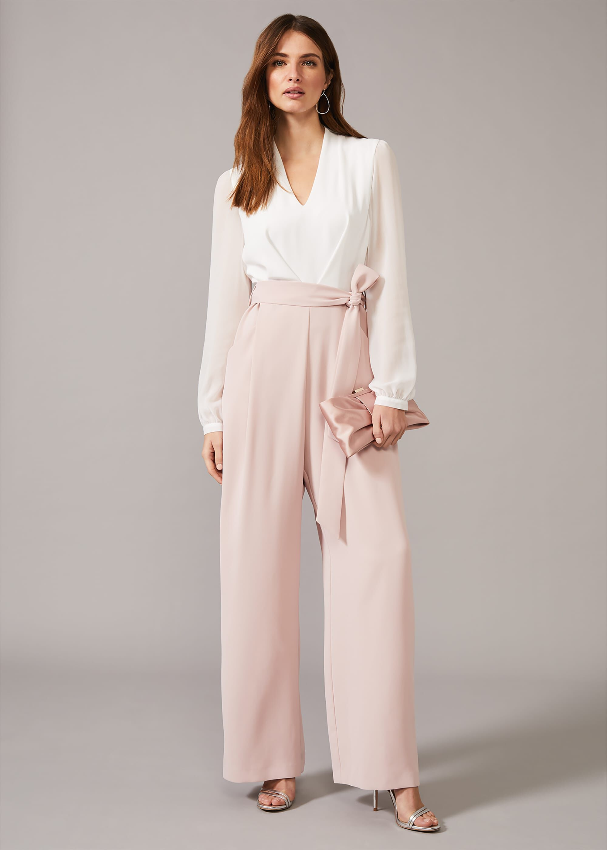 Phase Eight Audrey Blouson Sleeve Jumpsuit, Pink, Jumpsuit