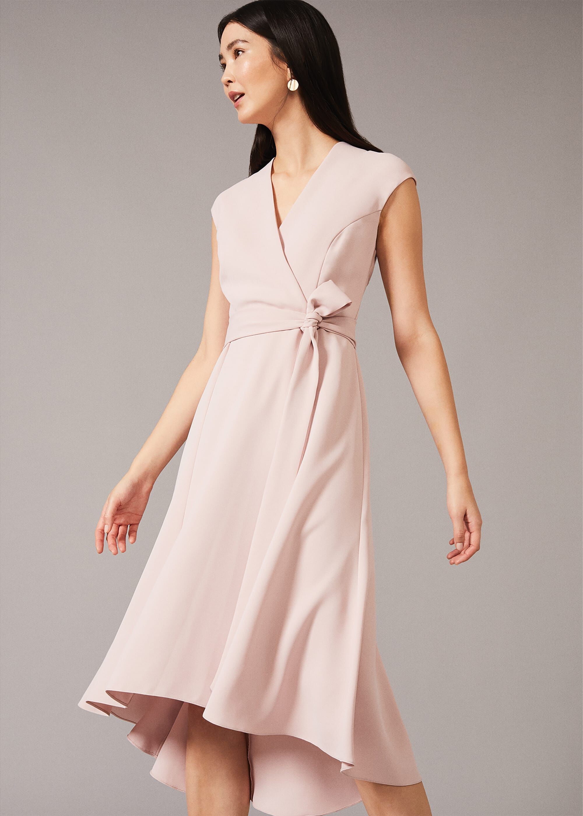 Phase Eight Livvy Belted Midi Dress, Pink, Fit & Flare, Occasion Dress