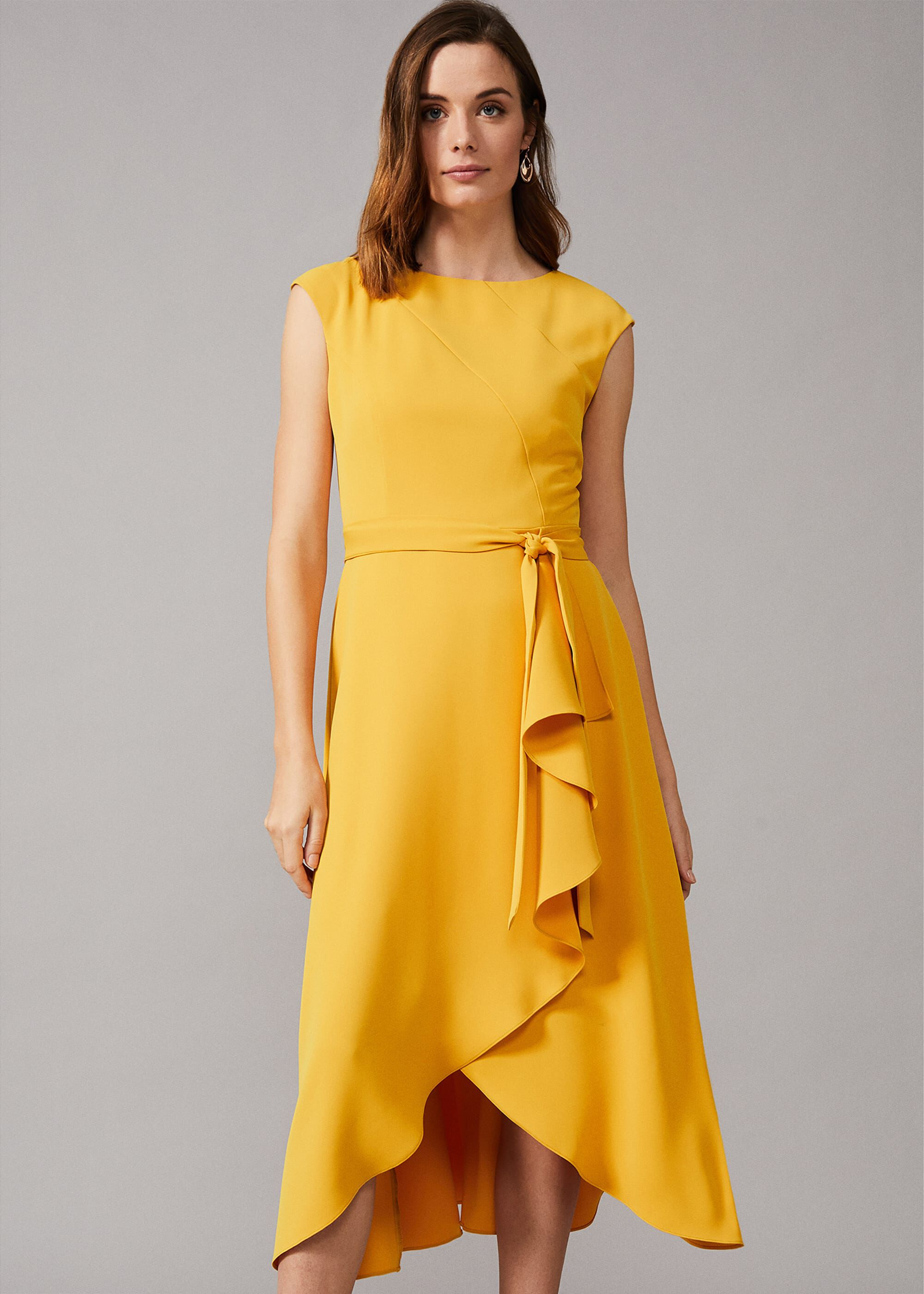 Phase Eight Rushelle Frill Midi Dress, Yellow, Fit & Flare, Occasion Dress
