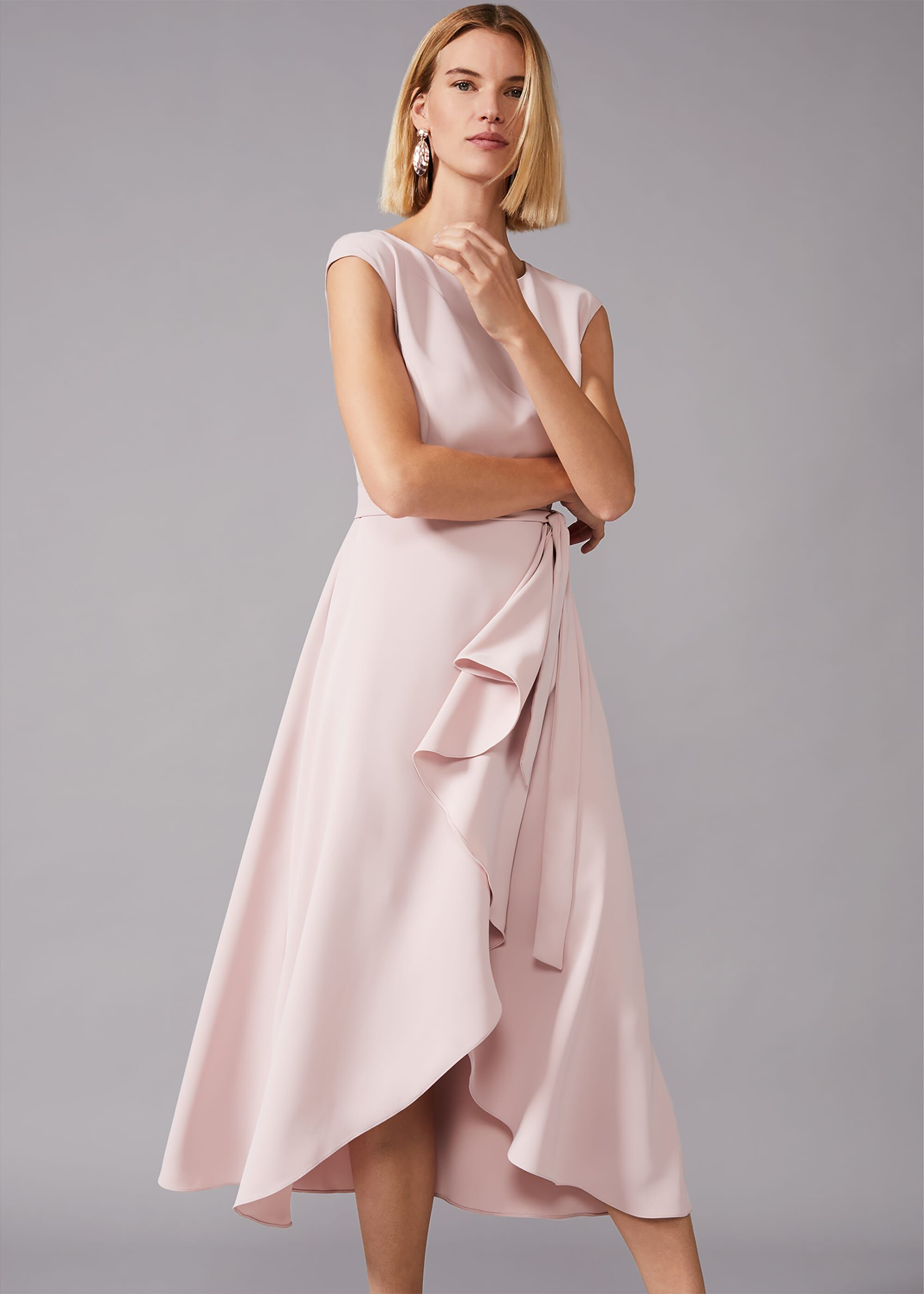 Phase Eight Rushelle Frill Midi Dress, Pink, Fit & Flare, Occasion Dress
