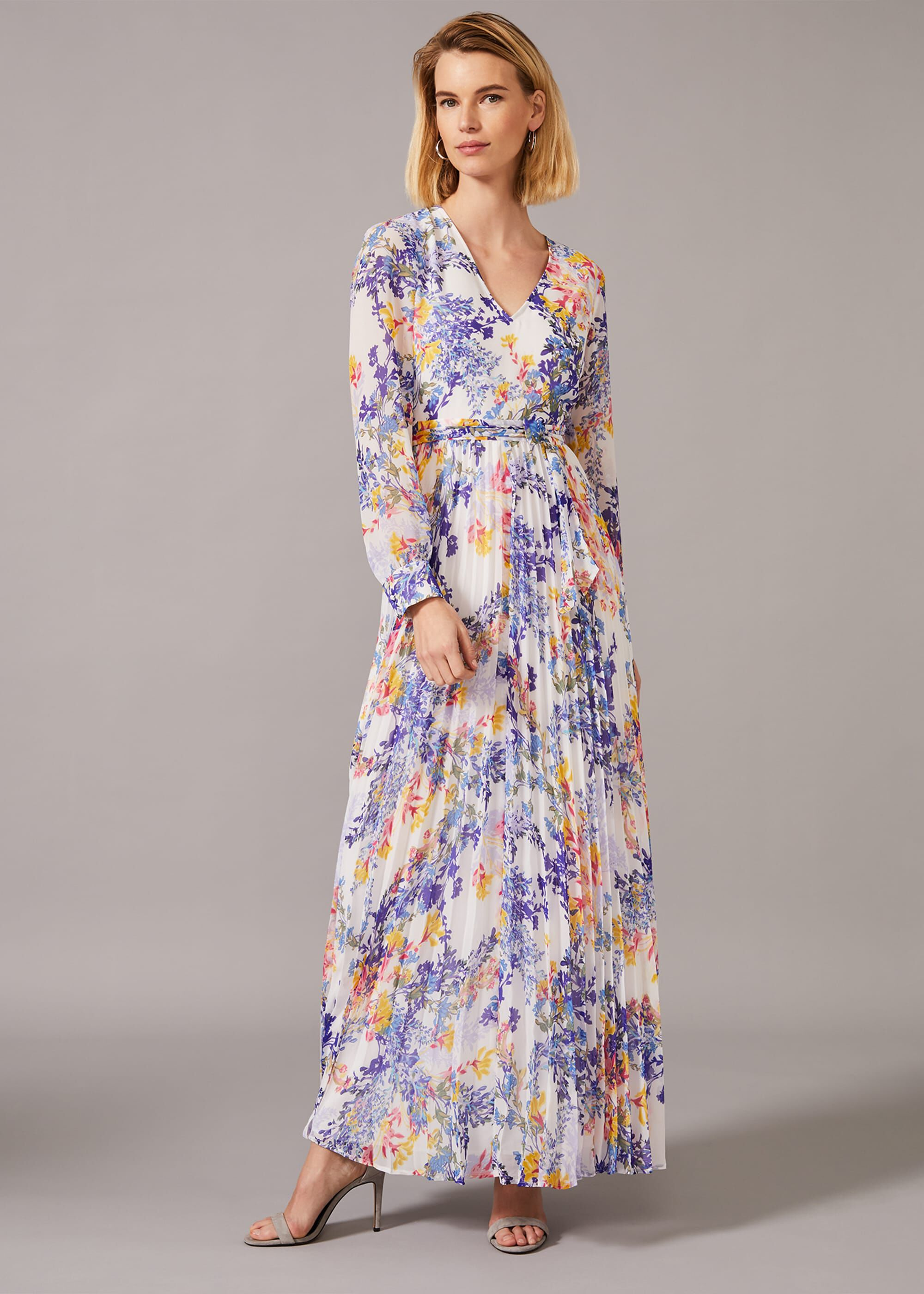 Phase Eight Daryl Pleated Maxi Dress, Purple, Maxi, Occasion Dress