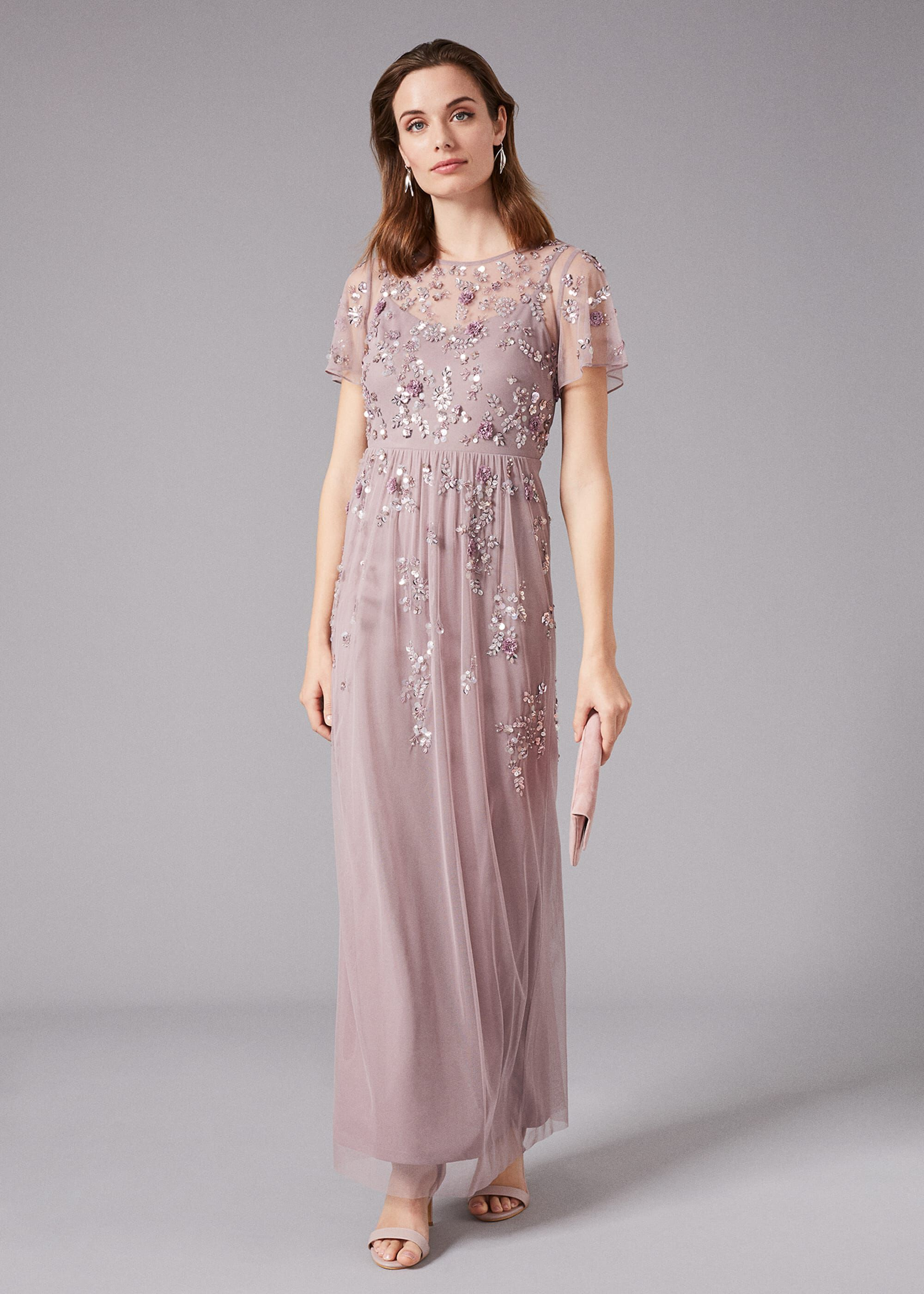 Phase Eight Shirin Embellished Maxi Dress, Purple, Maxi, Occasion Dress