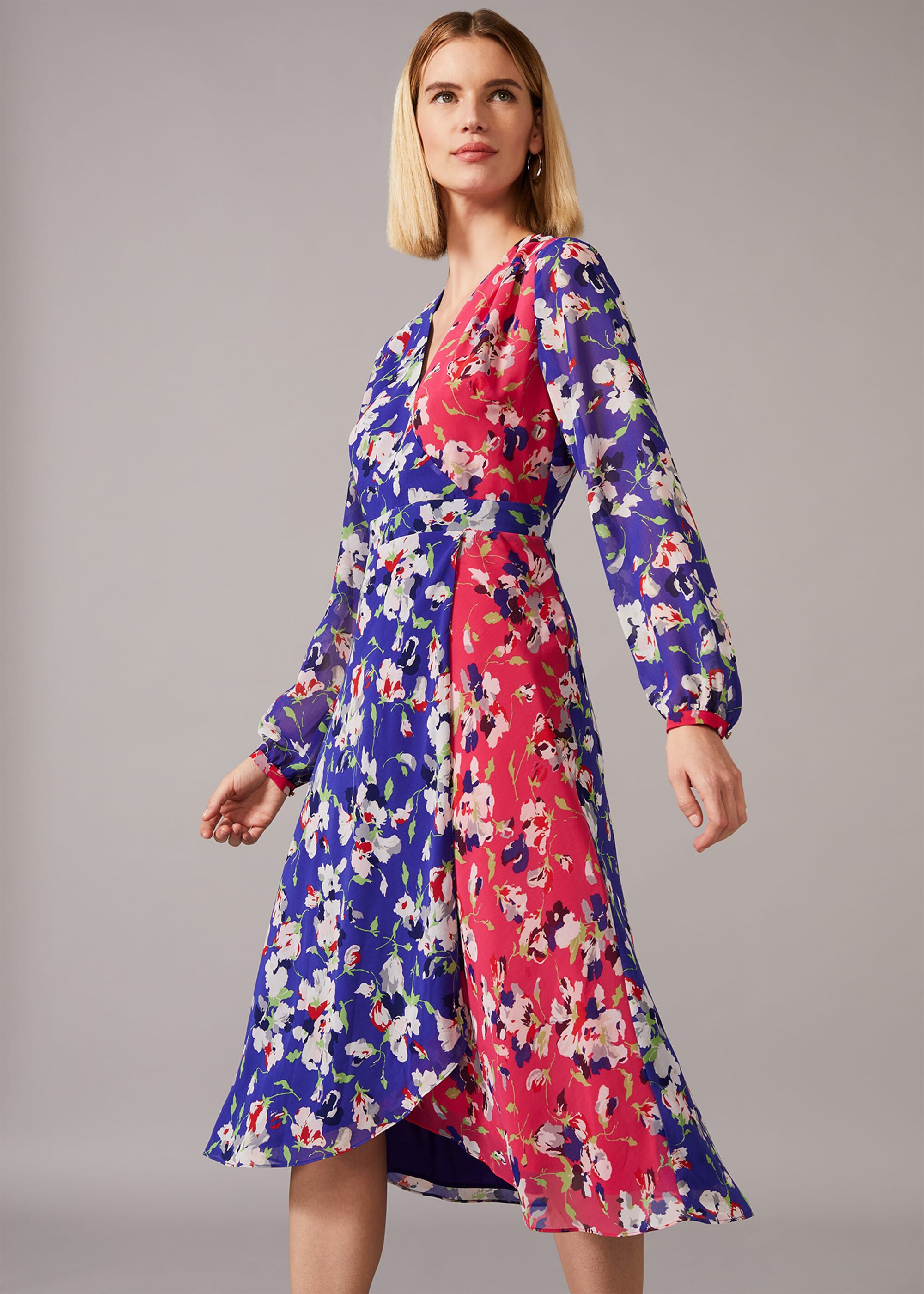 Phase Eight Claudette Patched Floral Dress, Blue, Wrap, Occasion Dress