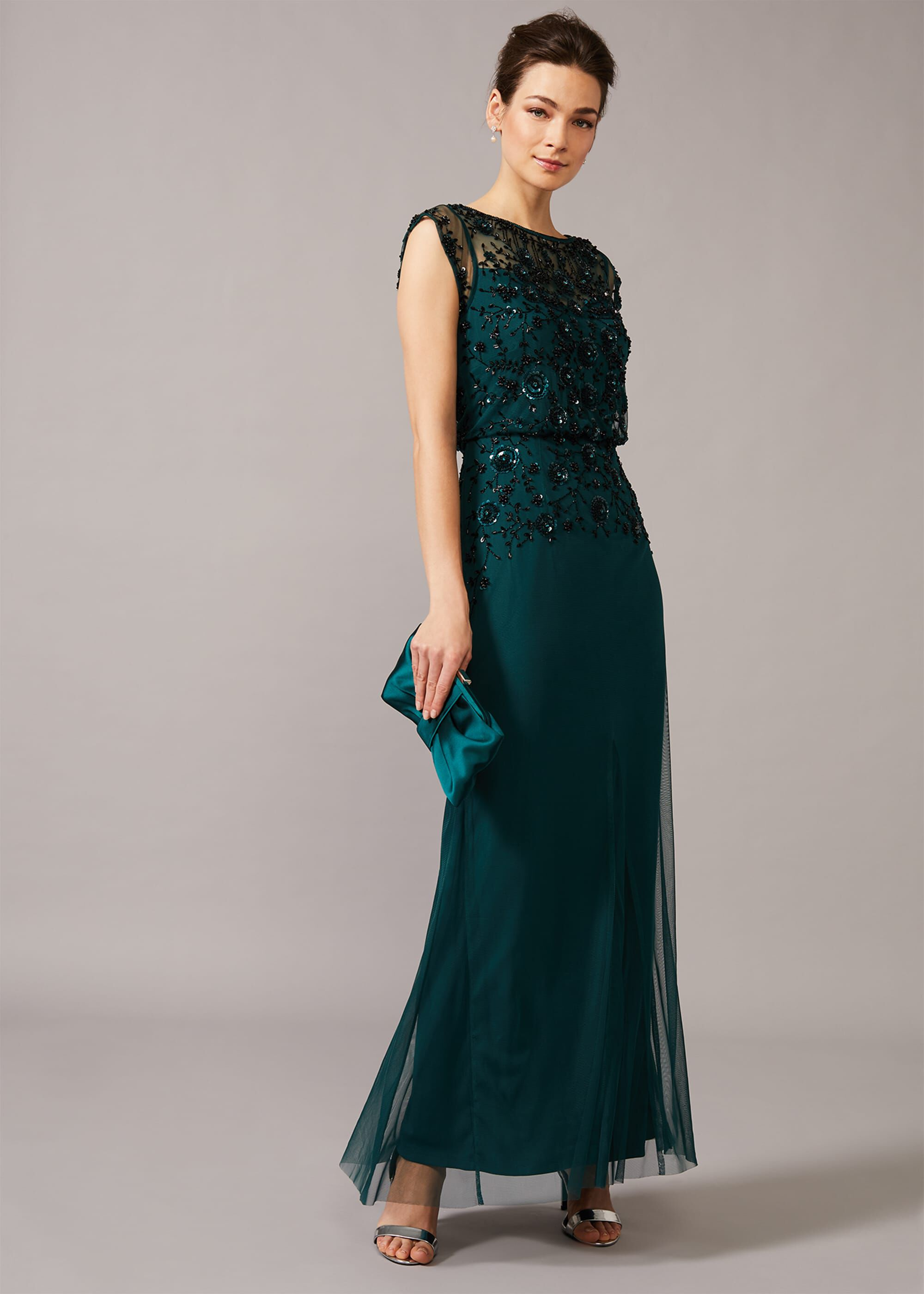 Phase Eight Elan Sequinned Dress, Green, Maxi, Occasion Dress