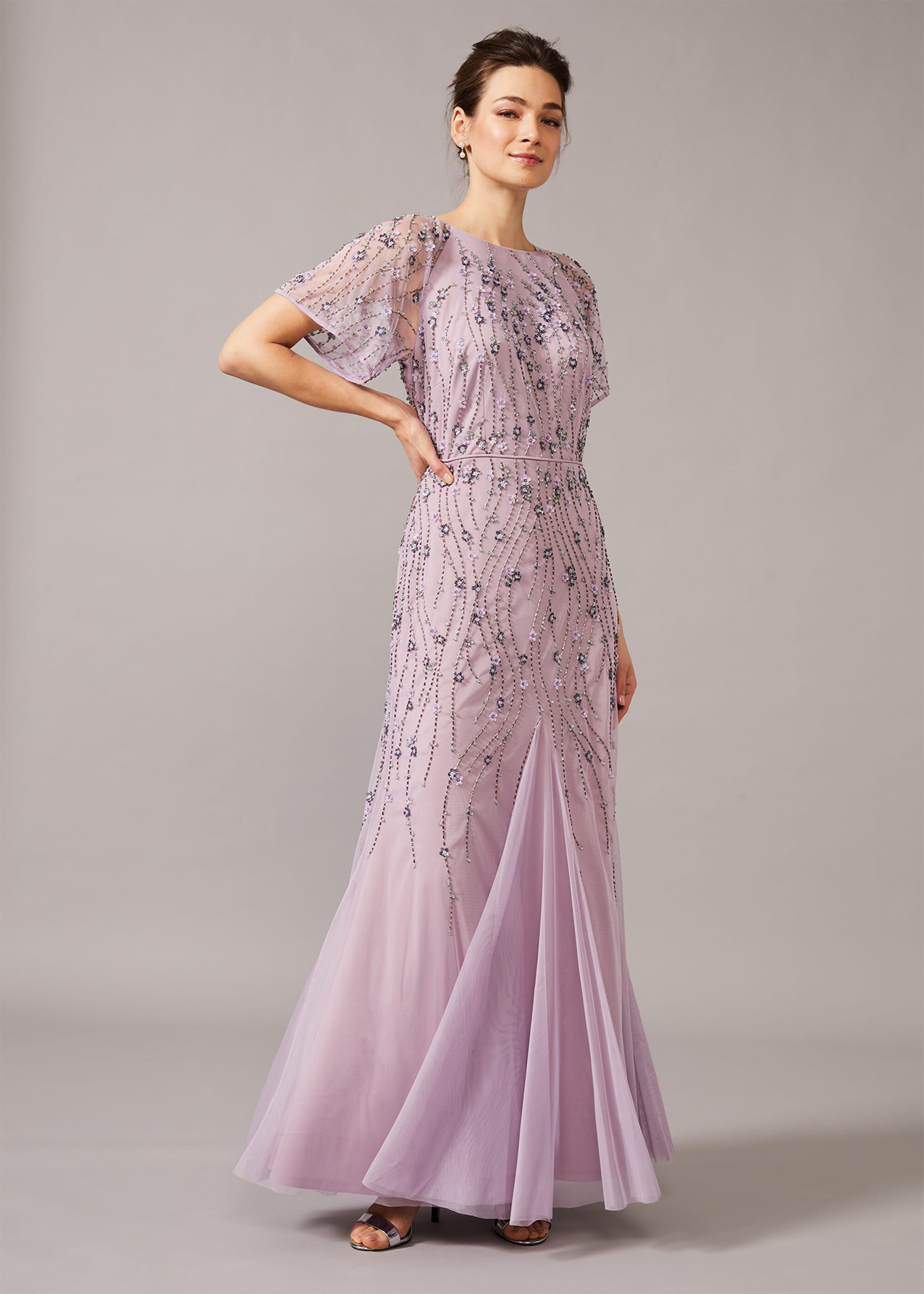 Phase Eight Florisa Embellished Dress, Purple, Maxi, Occasion Dress