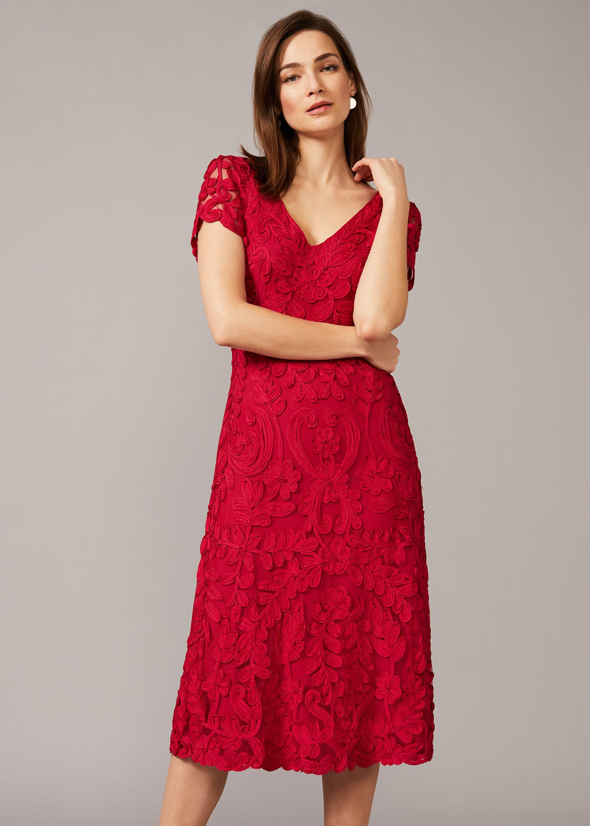 Phase Eight Blossom Tapework Lace Dress, Pink, Fit & Flare