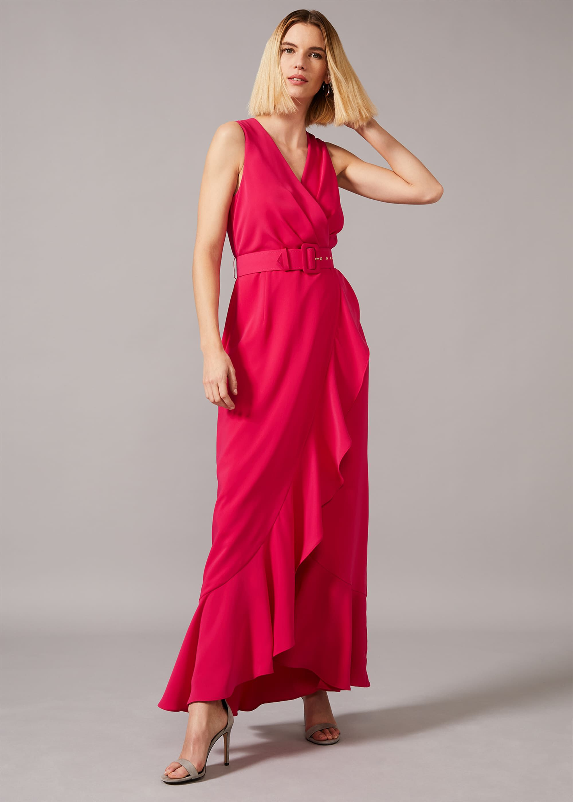 Phase Eight Lara Belted Maxi Dress, Red, Maxi