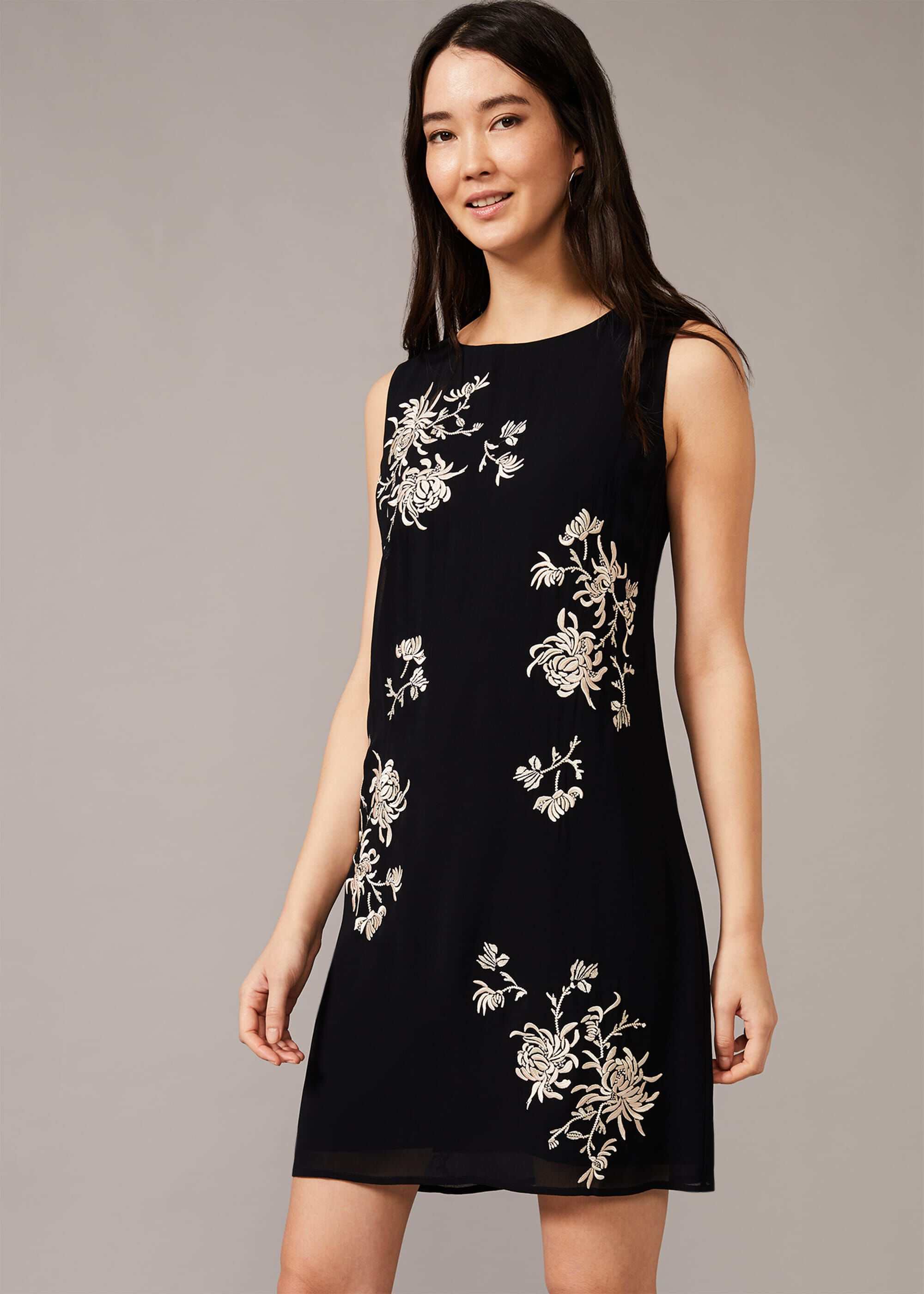 Phase Eight Hina Floral Embroidered Shift Dress, Blue, Default