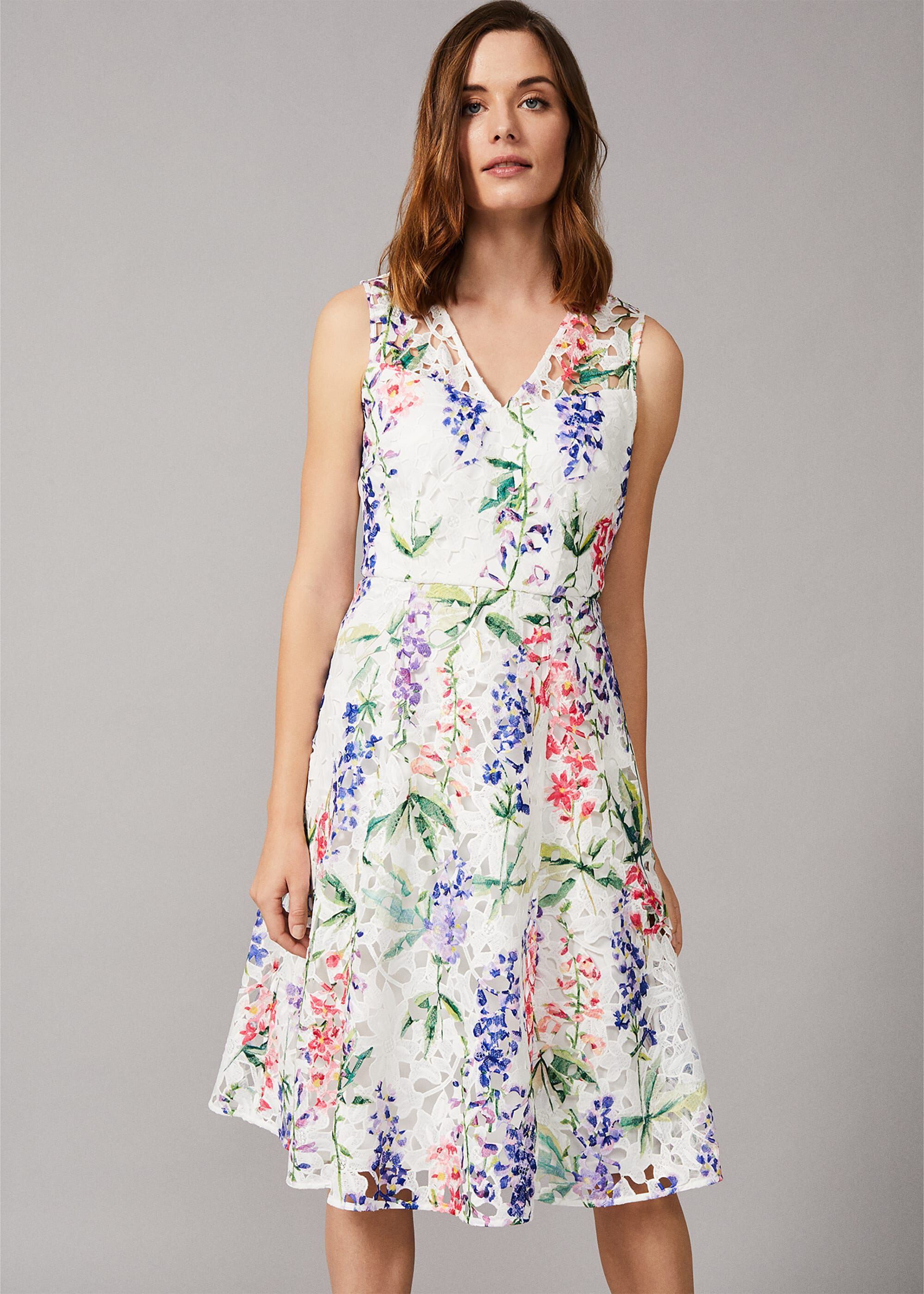 Phase Eight Lonnie Floral Fit And Flare Dress, Cream, Fit & Flare, Occasion Dress