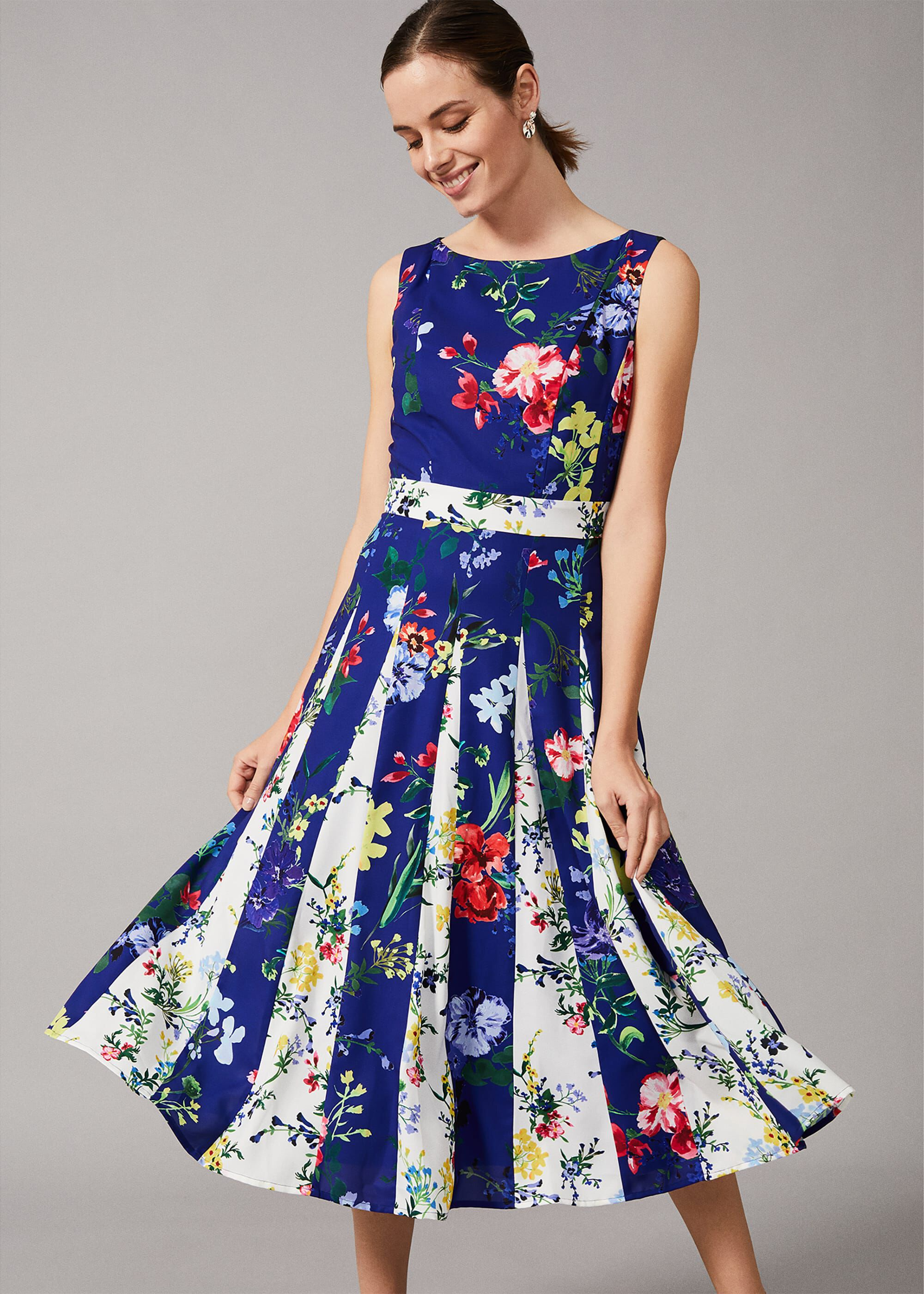 Phase Eight Trudy Patched Floral Dress, Blue, Fit & Flare, Occasion Dress