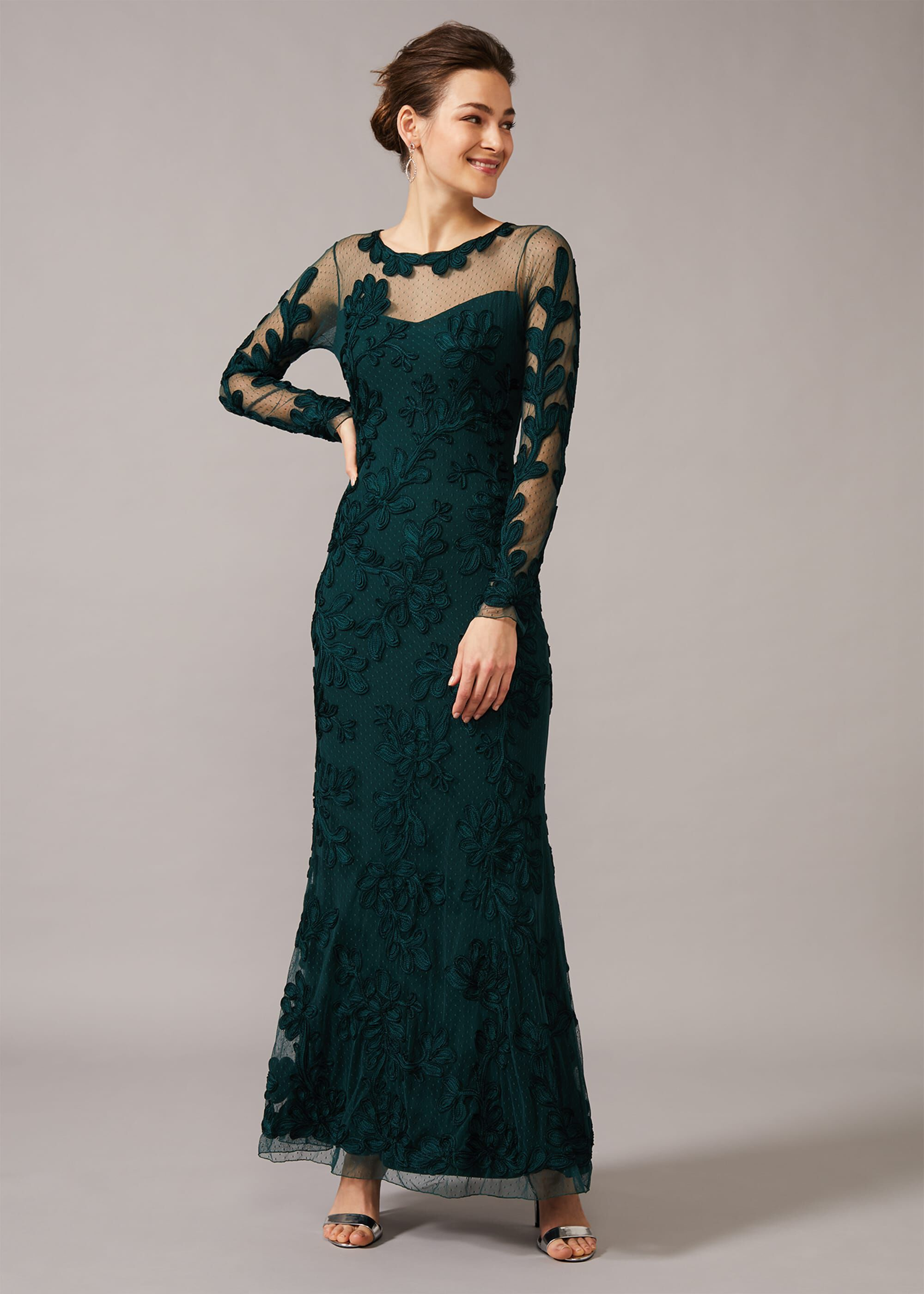 Phase Eight Lorie Tapework Lace Dress, Green, Maxi, Occasion Dress