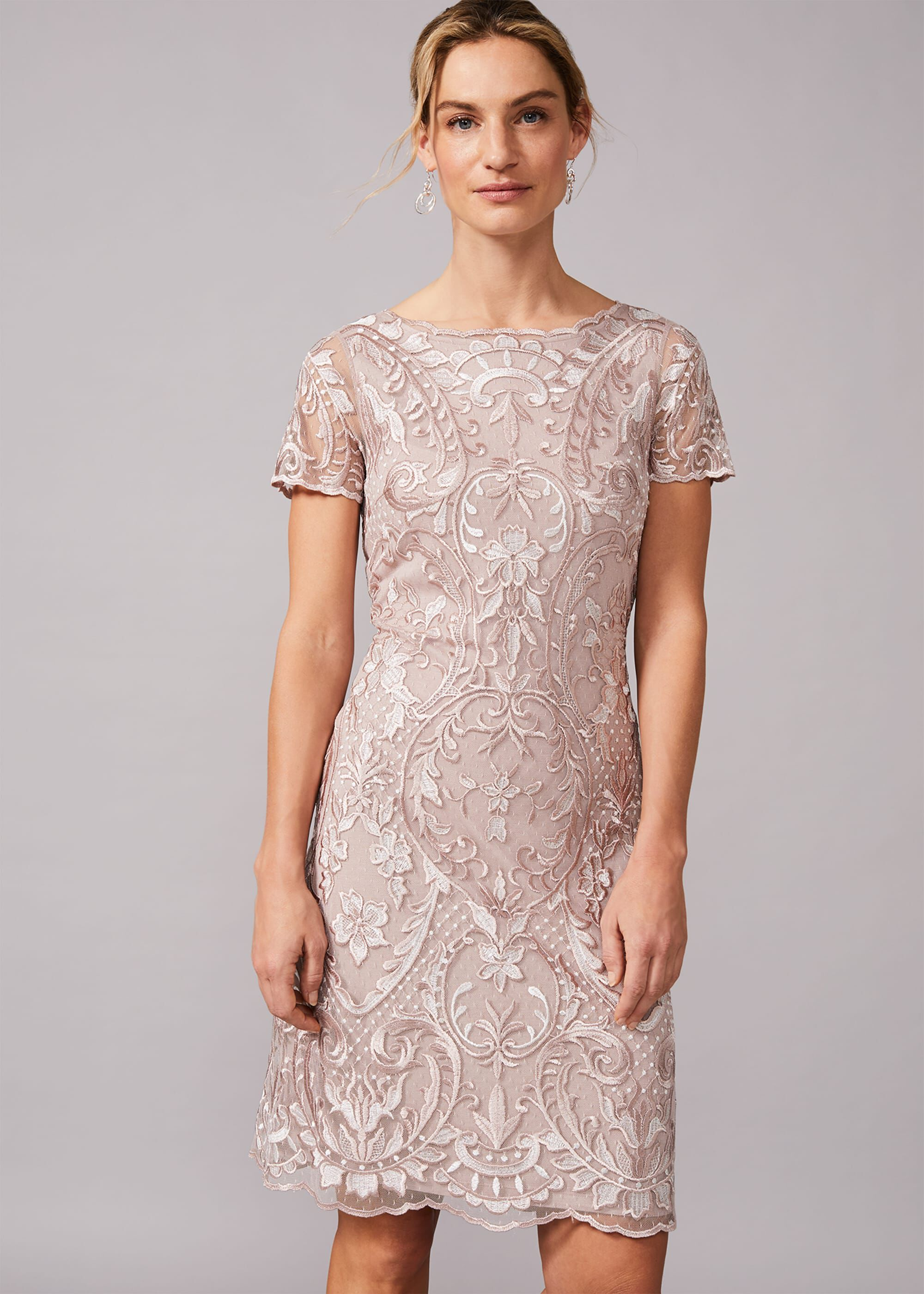 Phase Eight Lizzy Embroidered Dress, Neutral, Shift, Occasion Dress