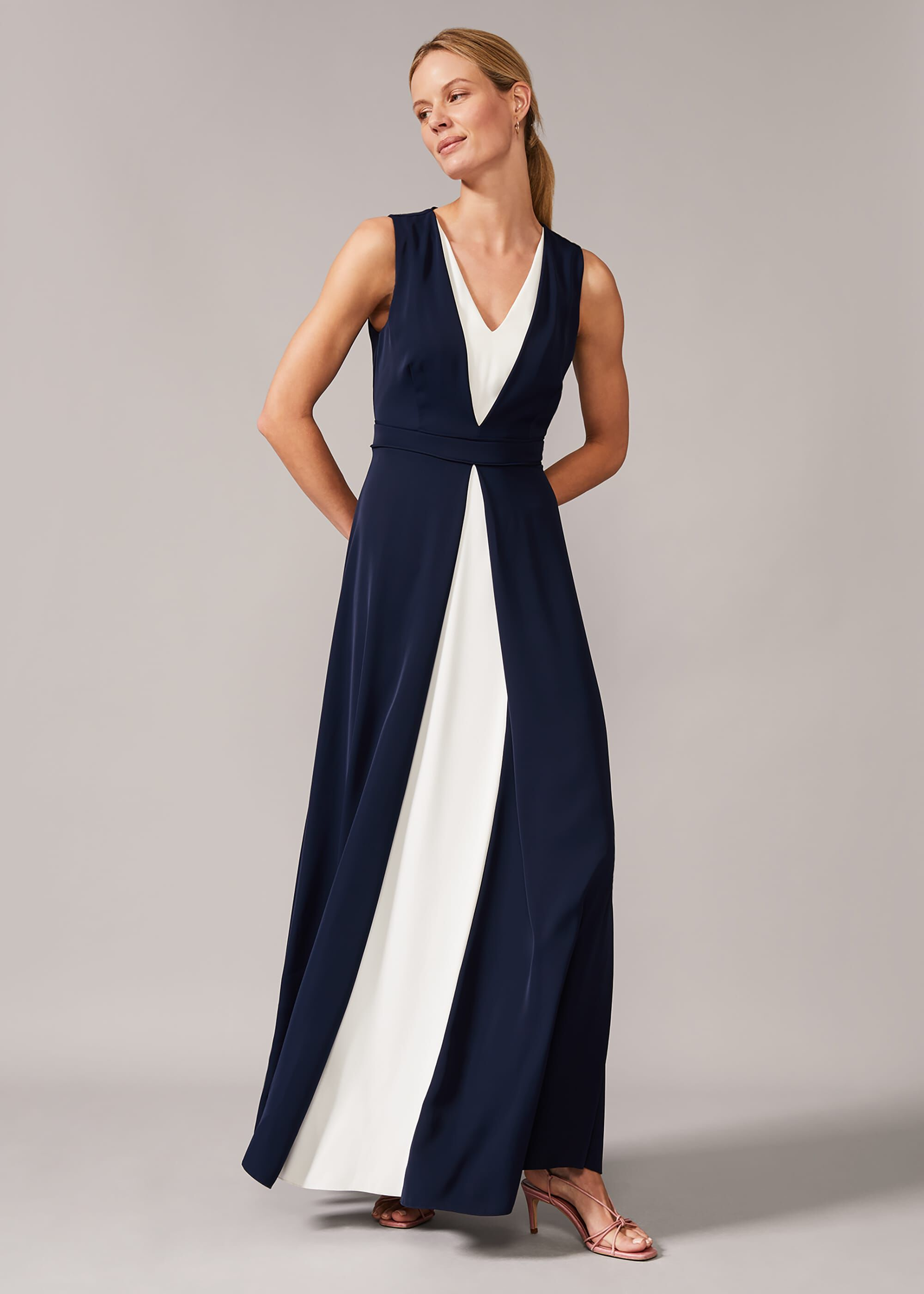 Phase Eight Addy Contrast Maxi Dress, Blue, Maxi