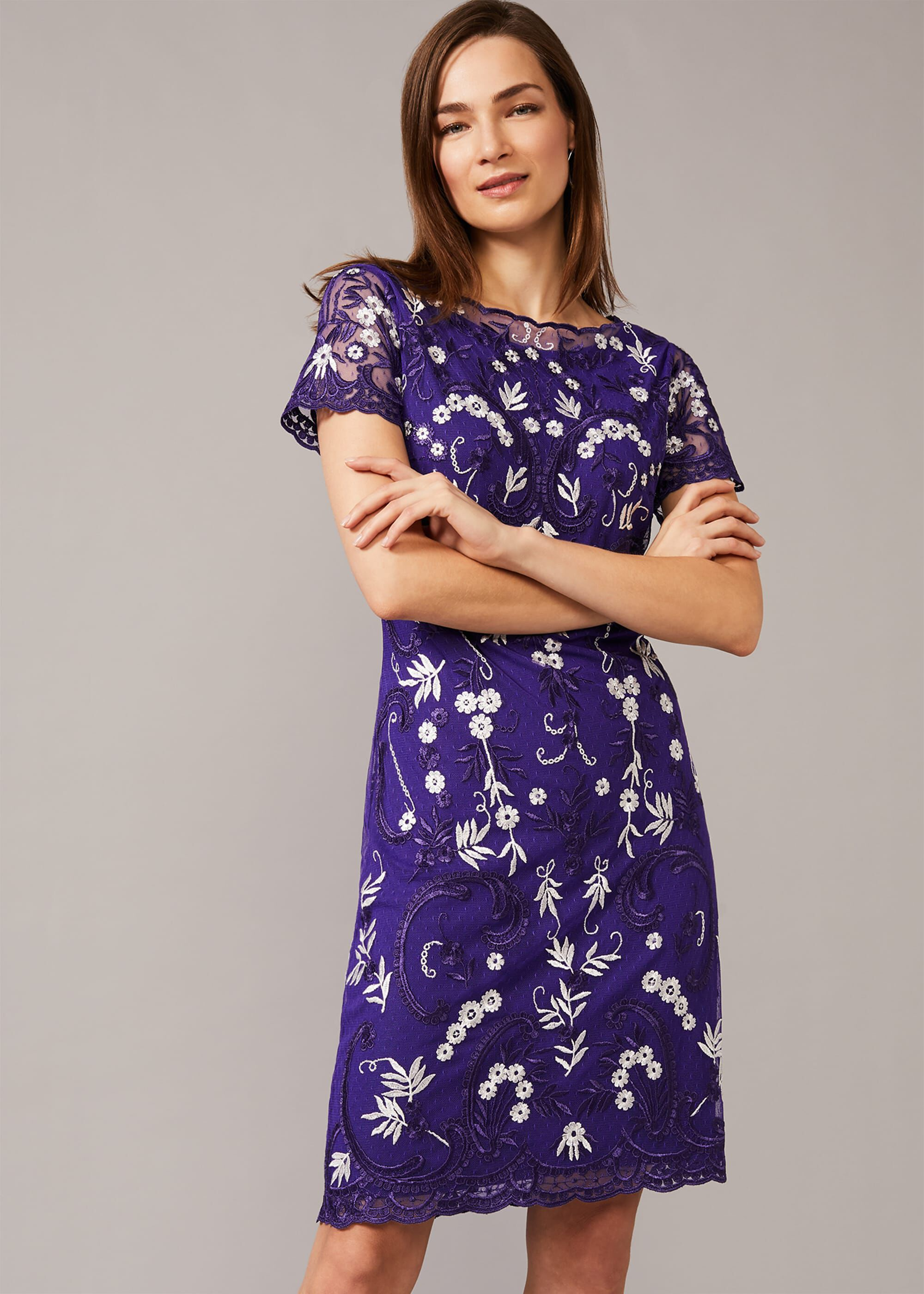 Phase Eight Floris Embroidered Dress, Blue, Shift, Occasion Dress