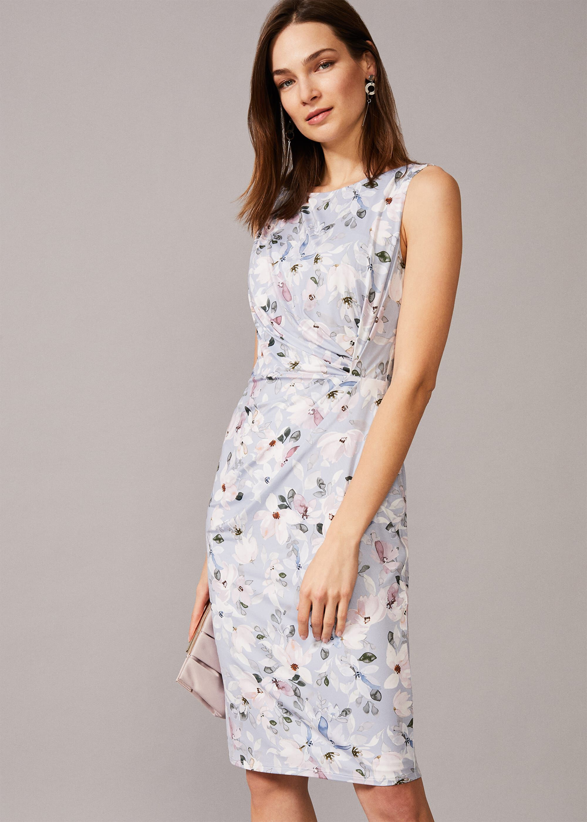 Phase Eight Etta Floral Jersey Dress, Green, Fitted, Occasion Dress