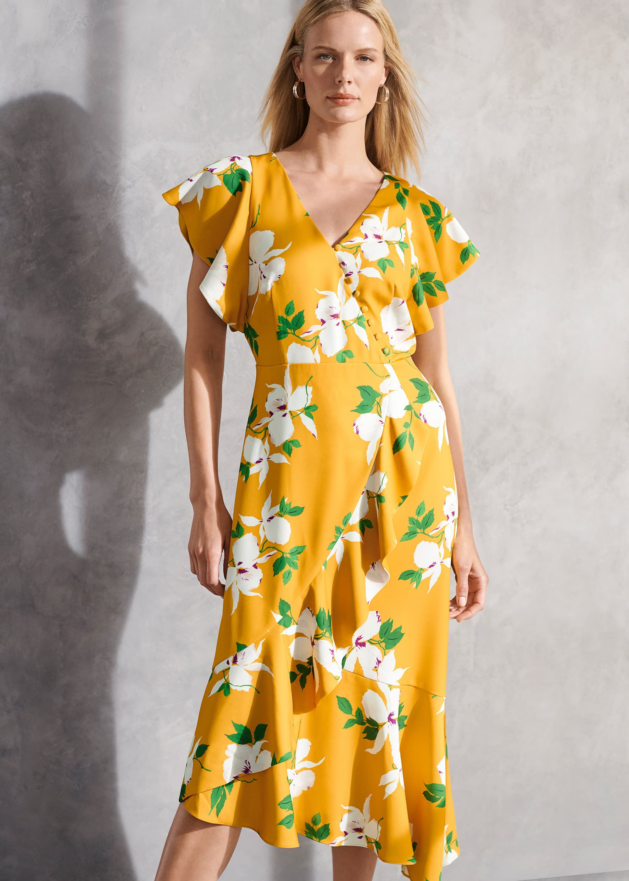 Phase Eight Dannie Floral Tea Dress, Yellow, Fit & Flare, Occasion Dress