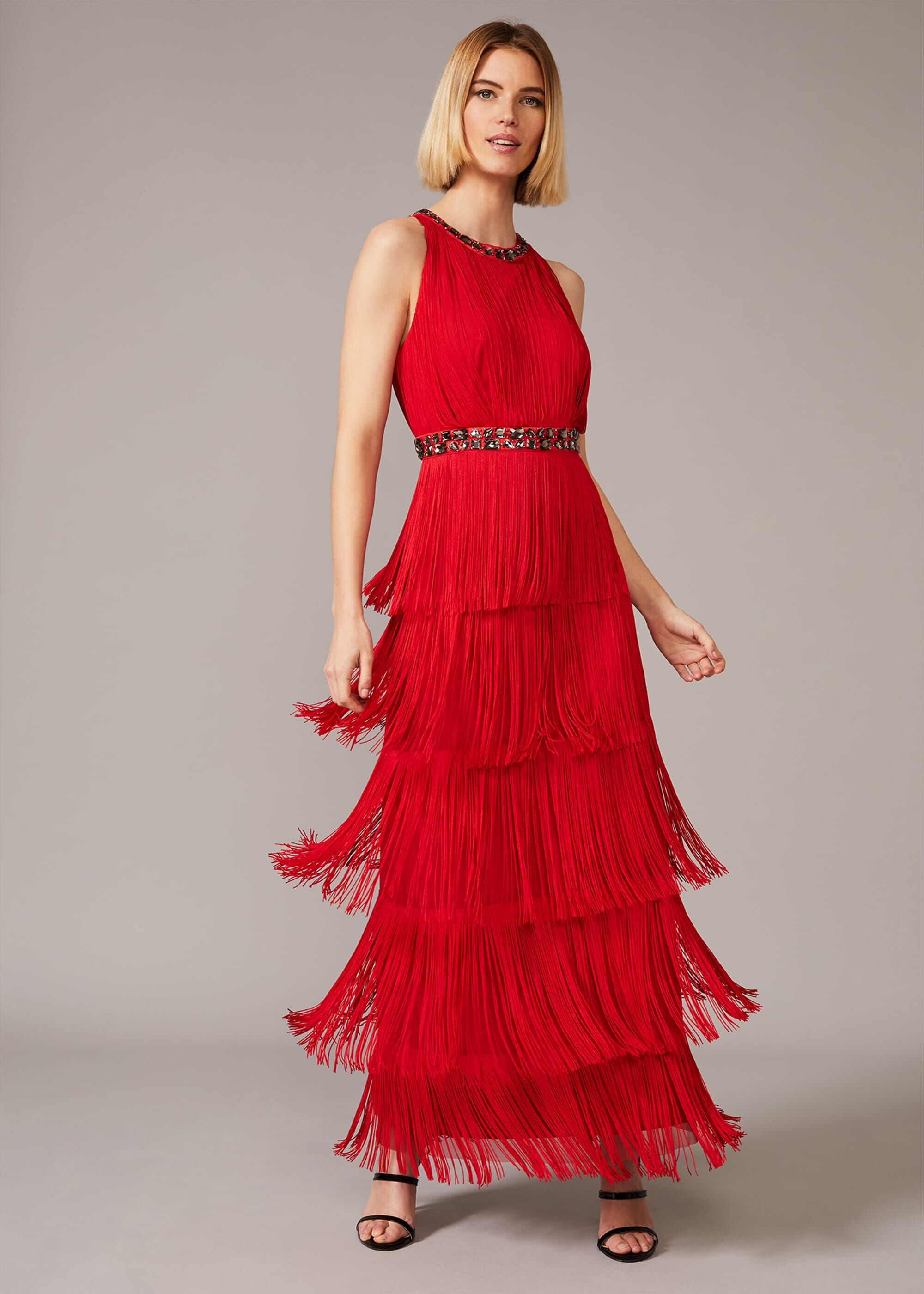 Phase Eight Albertina Fringe Maxi Dress, Red, Maxi, Occasion Dress