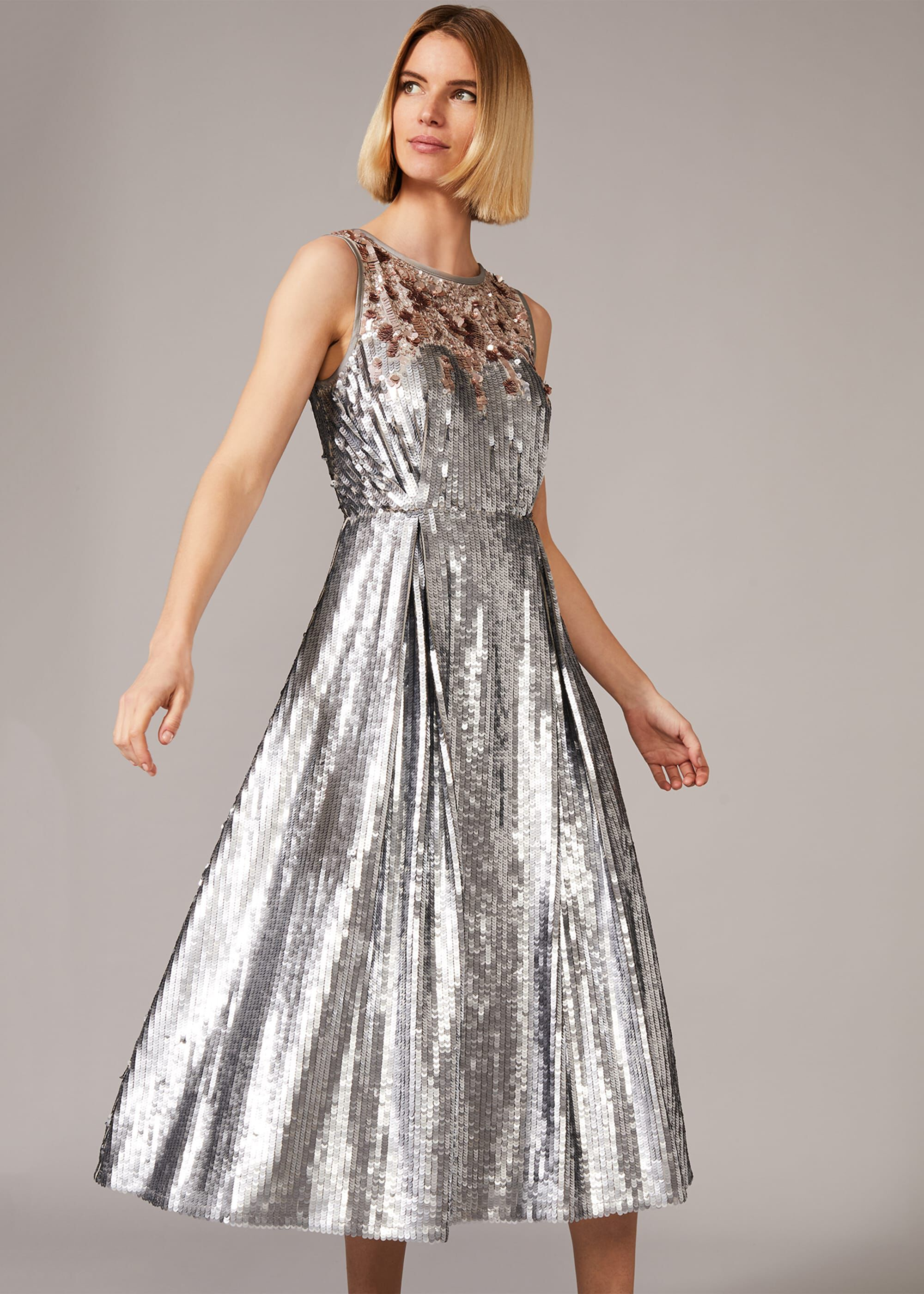 Phase Eight Lainey Shimmer Sequin Midi Dress, Metallic, Fit & Flare, Occasion Dress