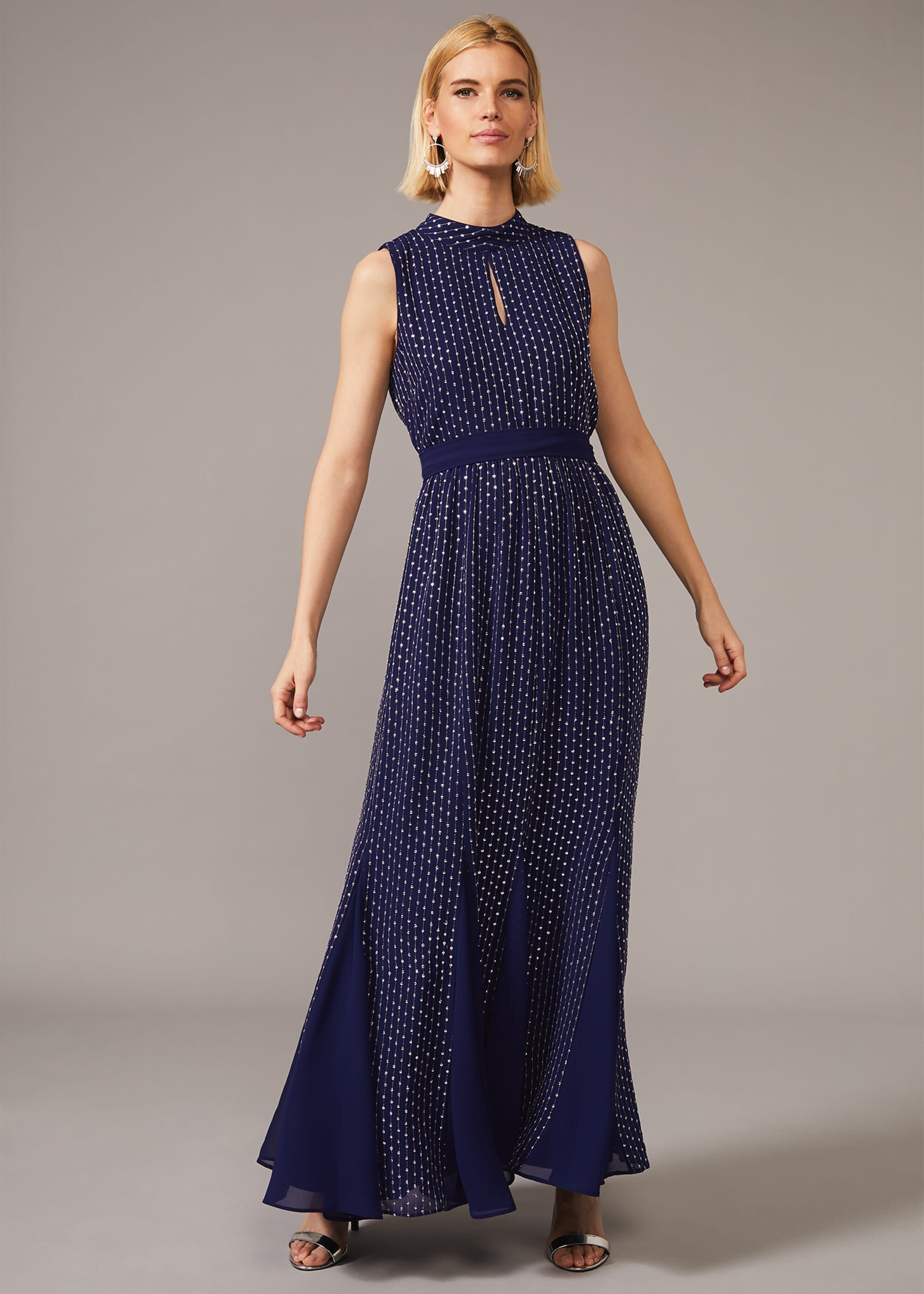 Phase Eight Pippa Embellished Blouson Dress, Blue, Maxi, Occasion Dress