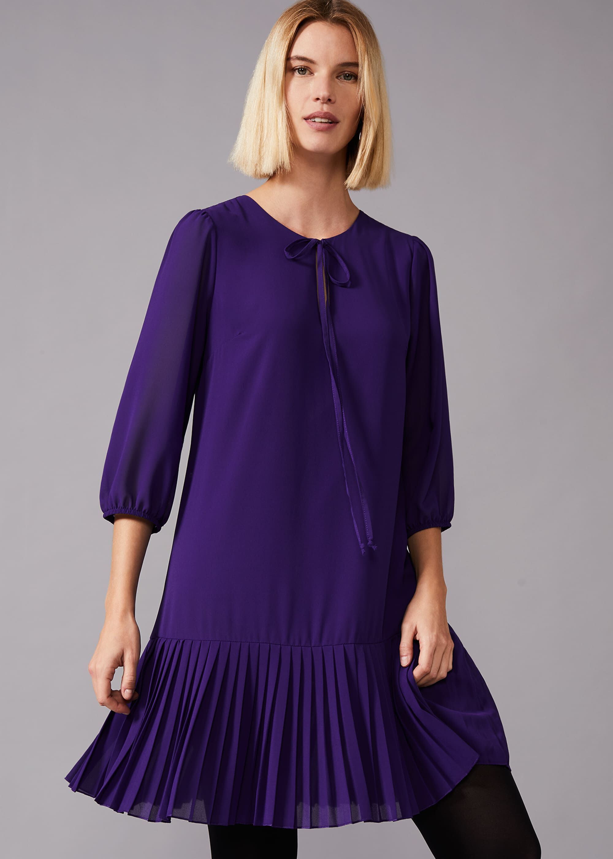 Old Fashioned Dresses | Old Dress Styles Phase Eight Maisie Pleat Dress Purple Shift £89.00 AT vintagedancer.com