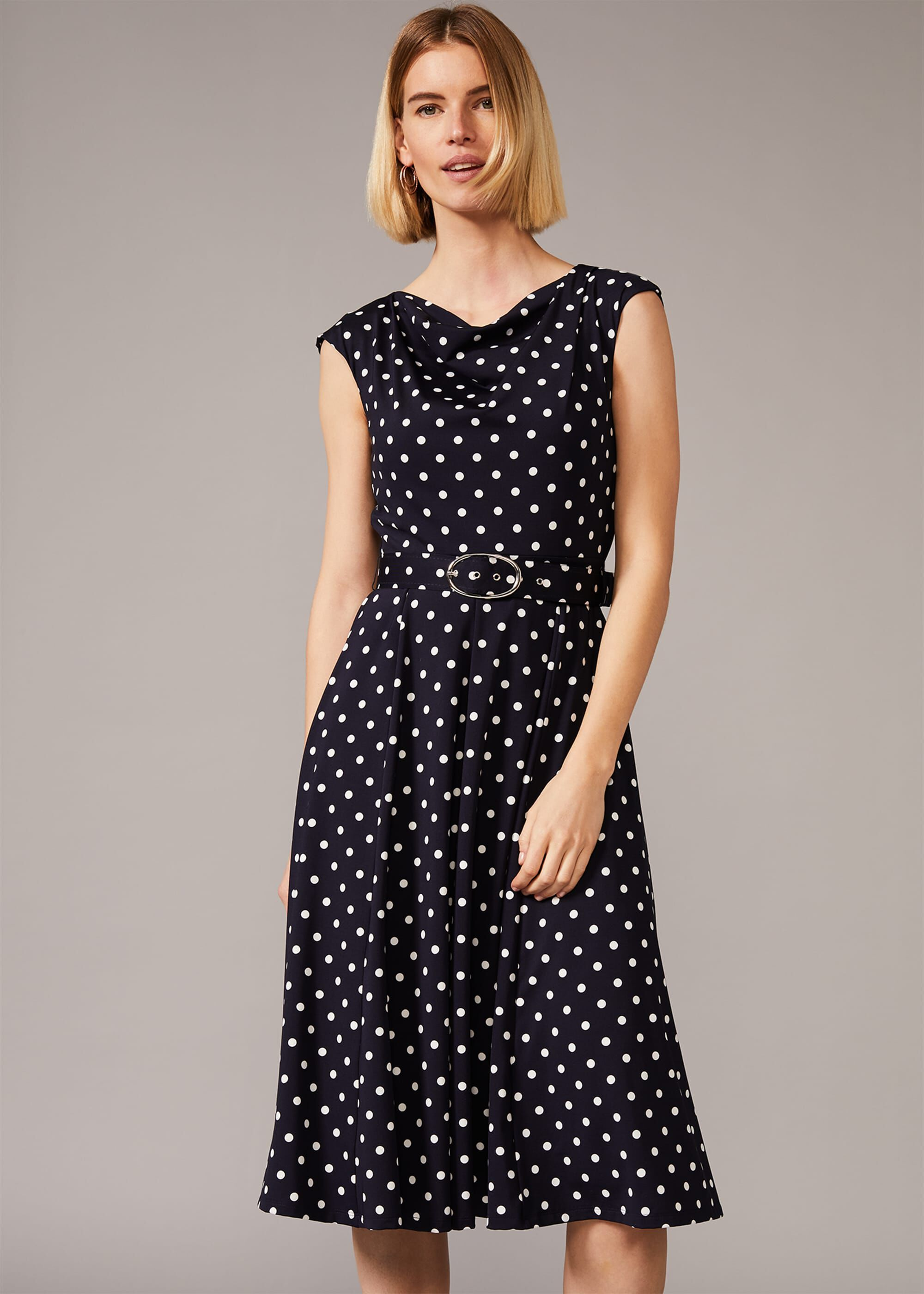 500 Vintage Style Dresses for Sale | Vintage Inspired Dresses Phase Eight Zalika Spot Cowl Neck Belted Dress Blue Fit  Flare Occasion Dress £79.20 AT vintagedancer.com