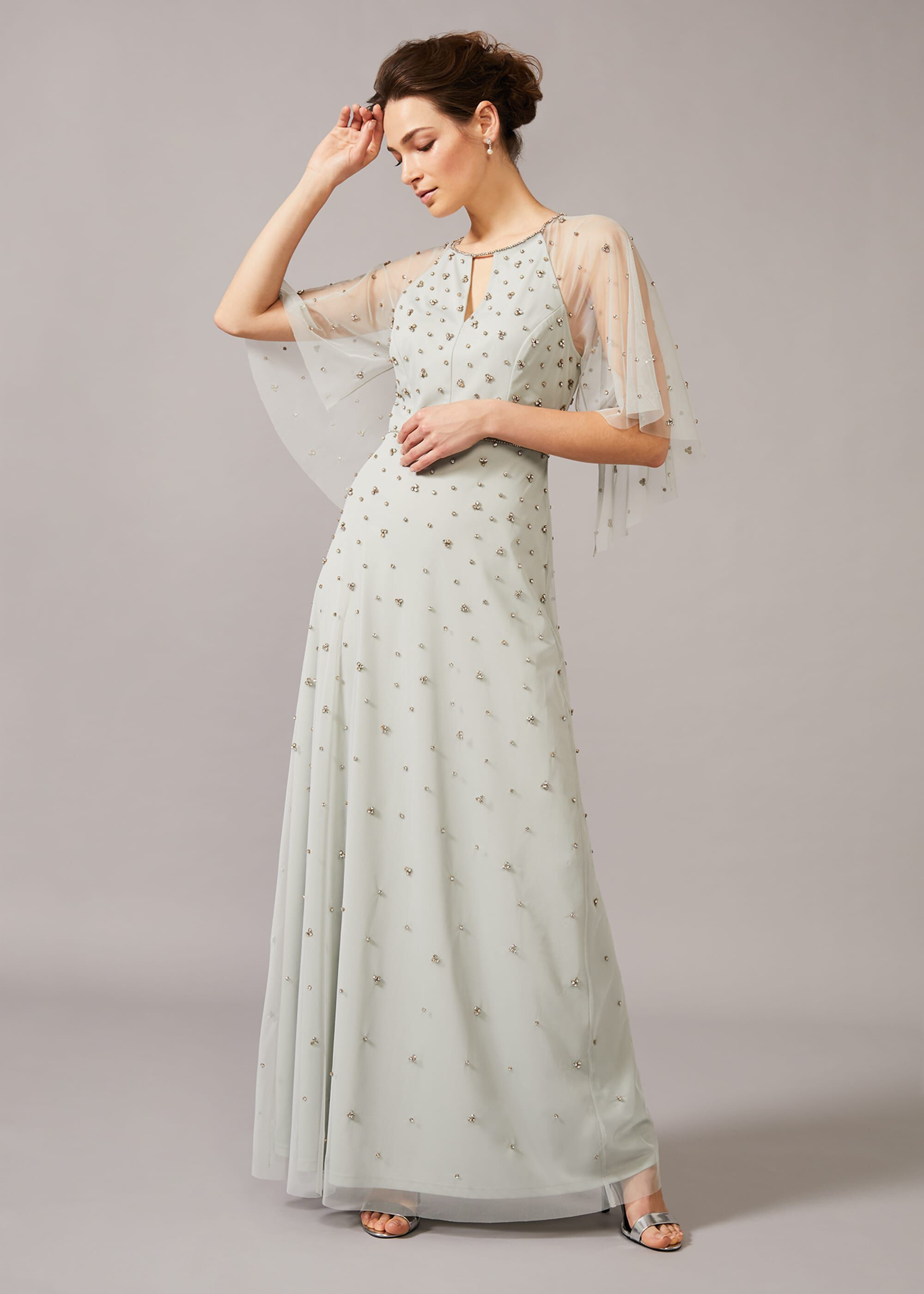 Phase Eight Blanca Sparkle Tulle Dress, Blue, Maxi, Occasion Dress