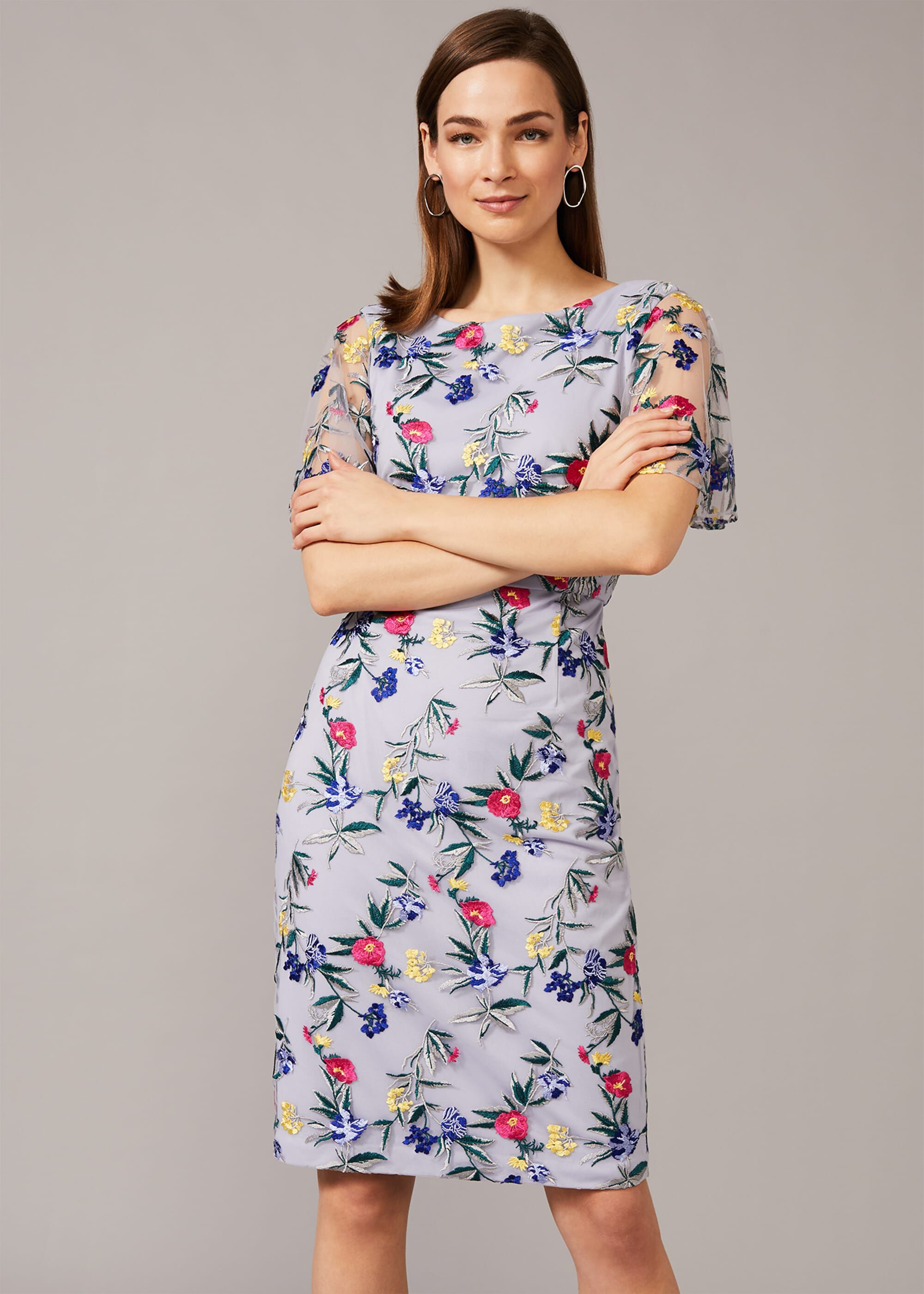 Phase Eight Lorie Embroidered Dress, Purple, Shift, Occasion Dress