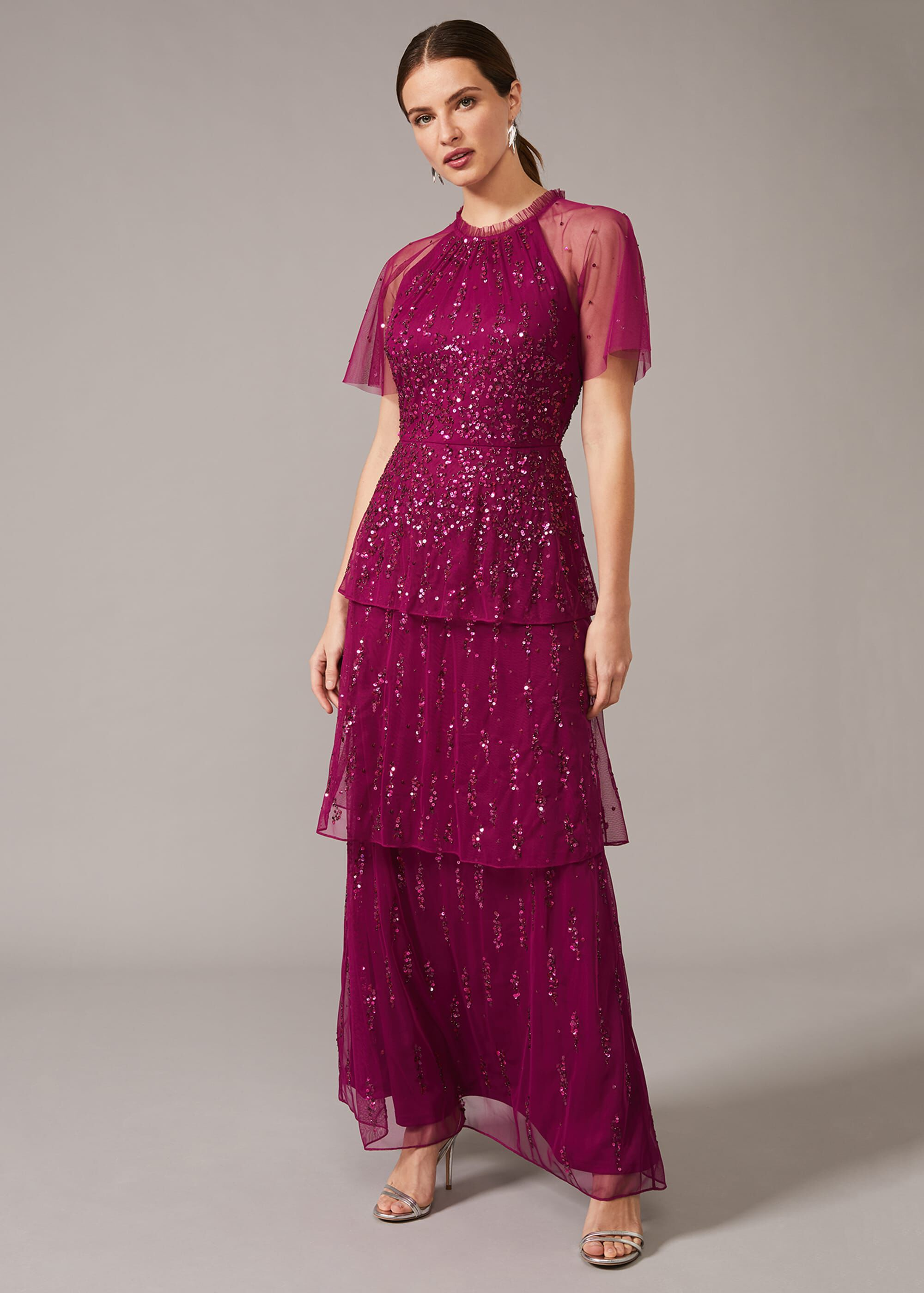 Phase Eight Liliana Tiered Embellished Dress, Red, Maxi, Occasion Dress
