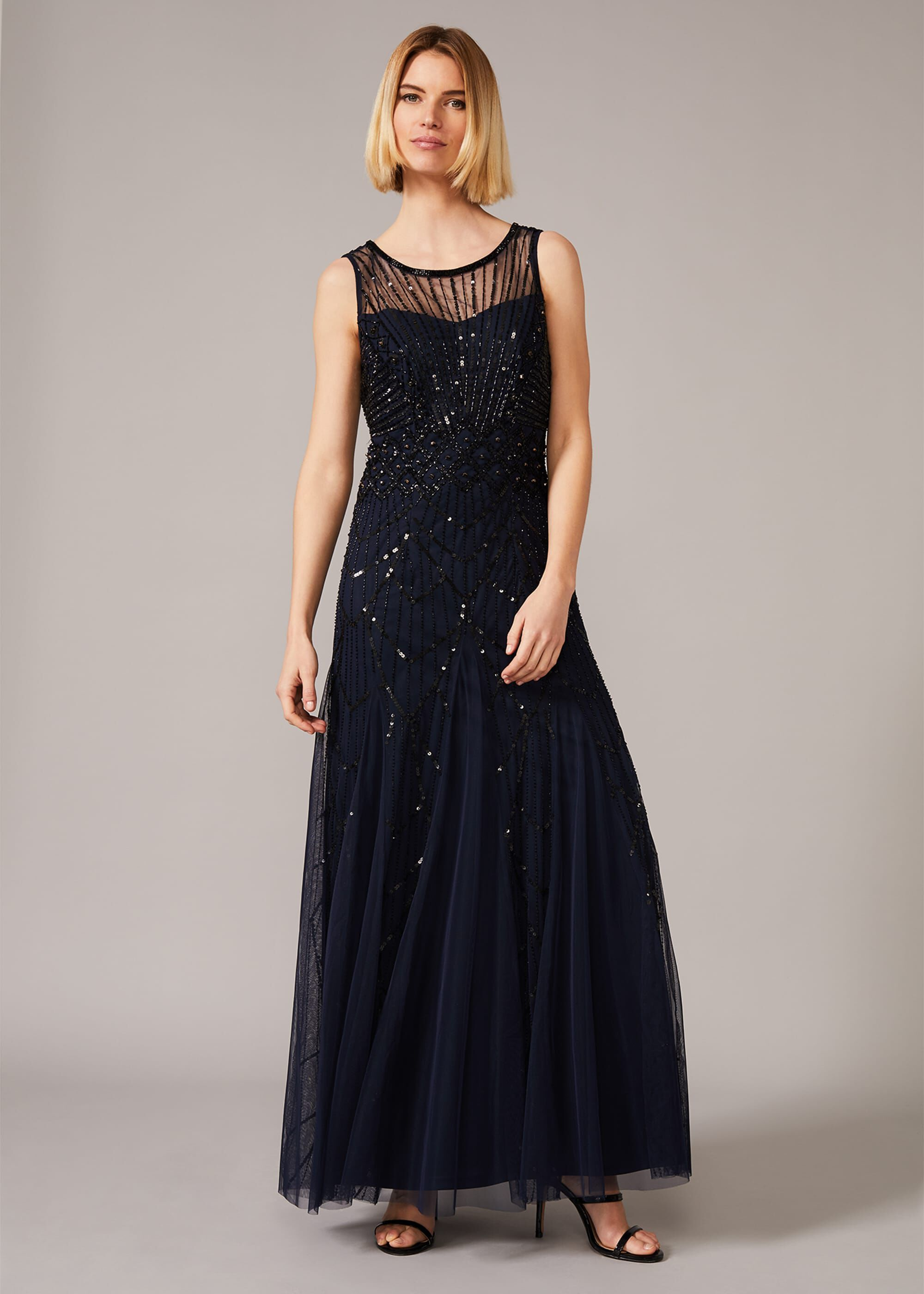 Phase Eight Greta Fully Beaded Dress, Blue, Maxi, Occasion Dress