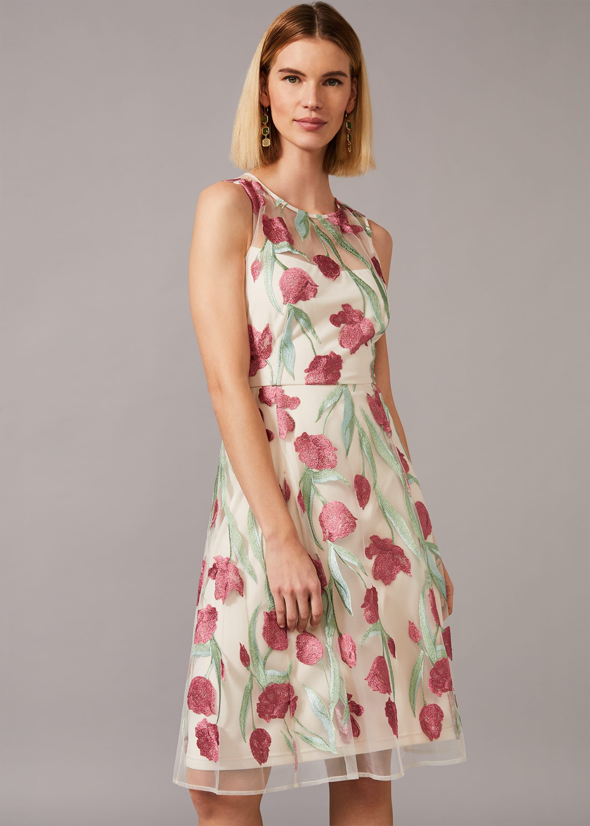 Phase Eight Shae Floral Embroidered Dress, Cream, Fit & Flare