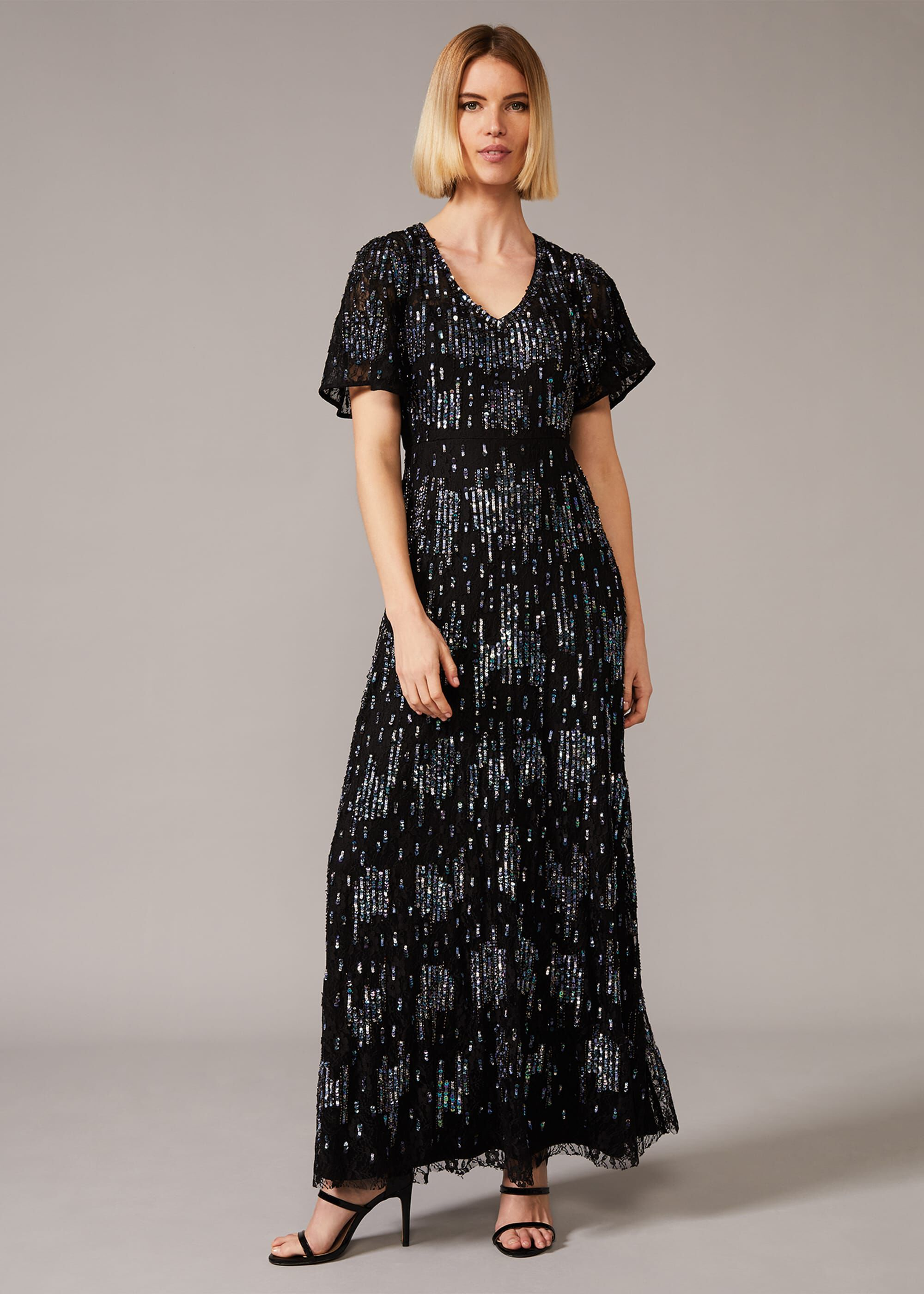Phase Eight Clarabelle Sequin Embelished Maxi Dress, Multicoloured, Maxi, Occasion Dress