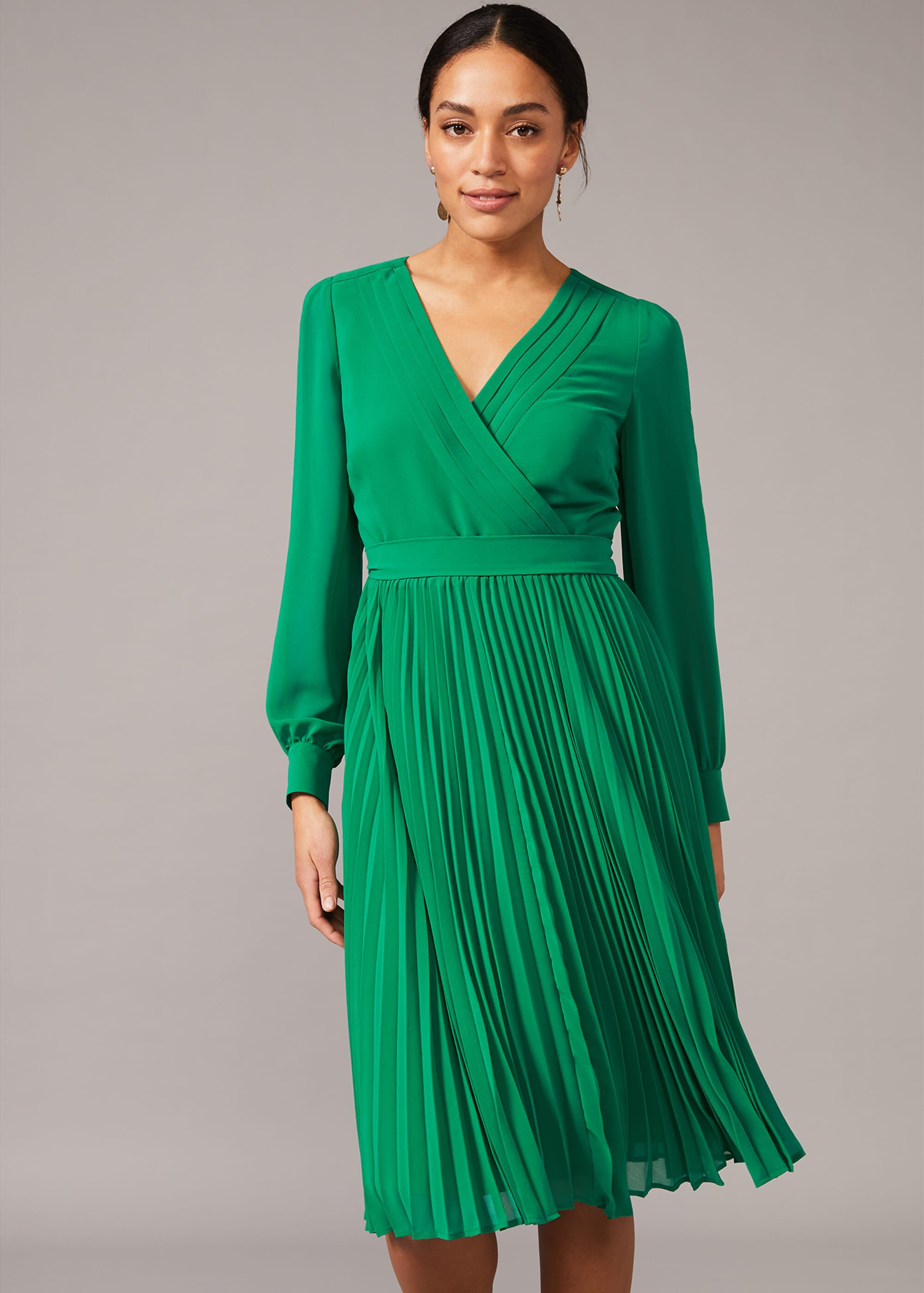 Phase Eight Isadora Pleated Skirt Dress, Green, Fit & Flare, Occasion Dress