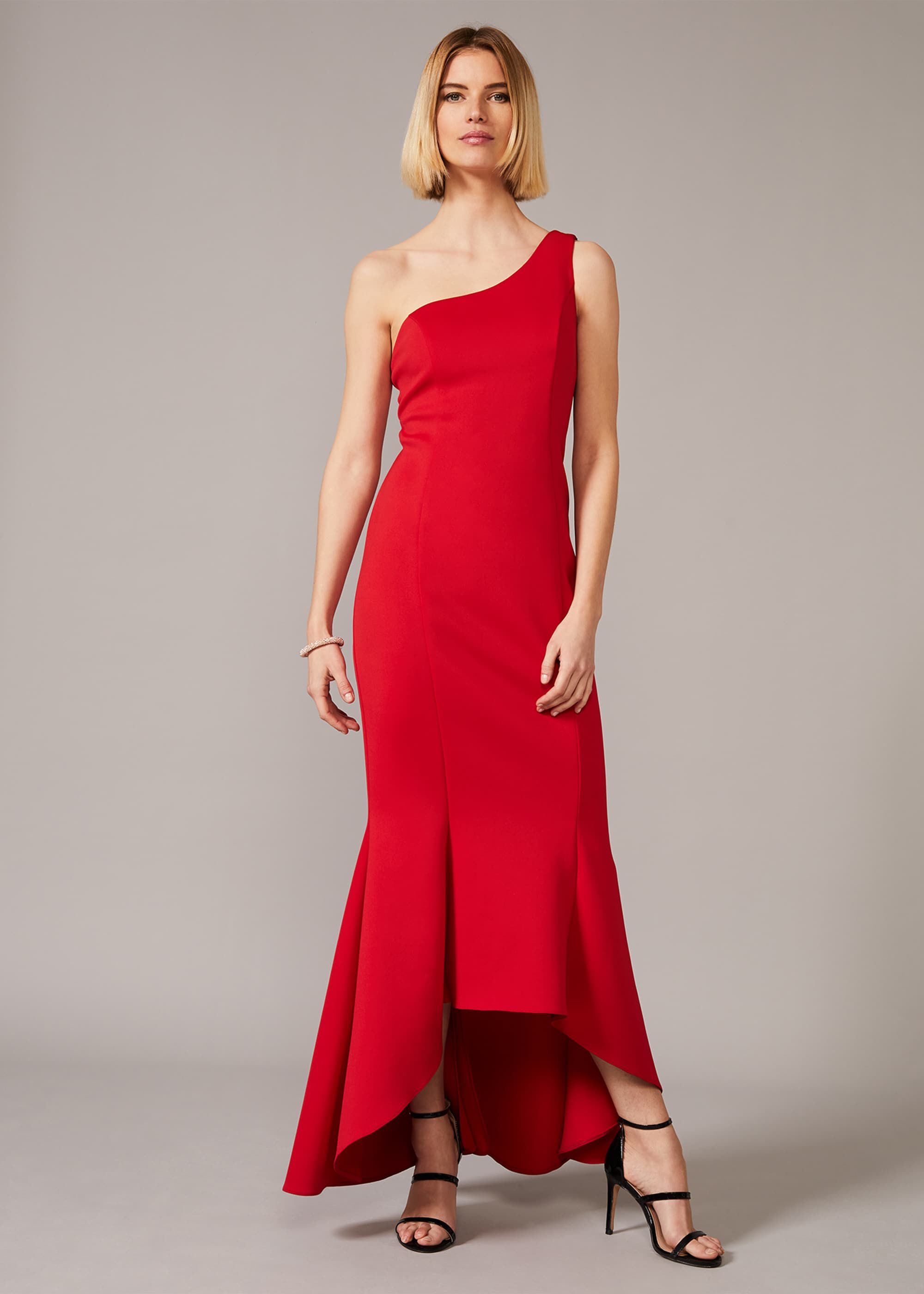 Phase Eight Dahlia One Shouldered Scuba Dress, Red, Maxi, Occasion Dress