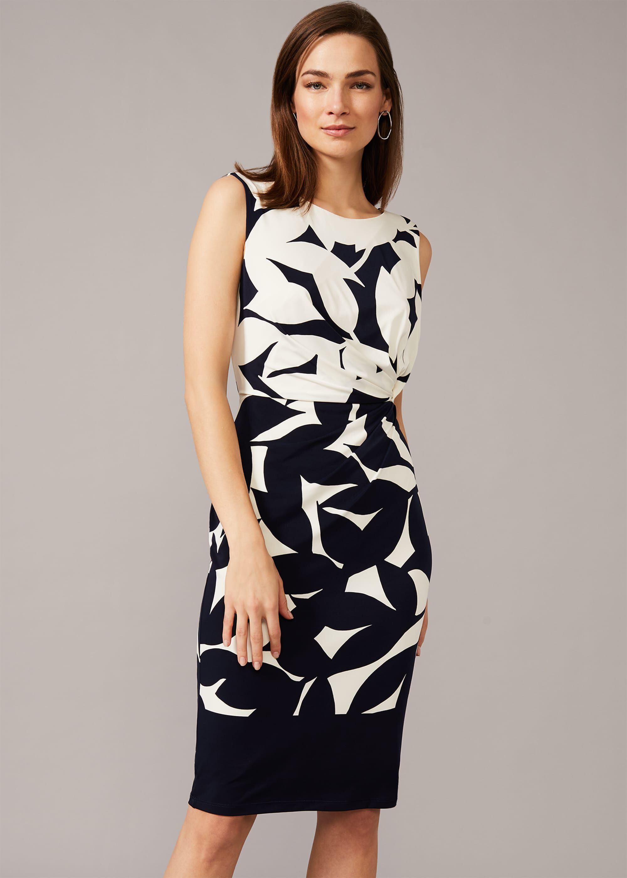Phase Eight Barbara Contrast Floral Dress, Blue, Fitted, Occasion Dress